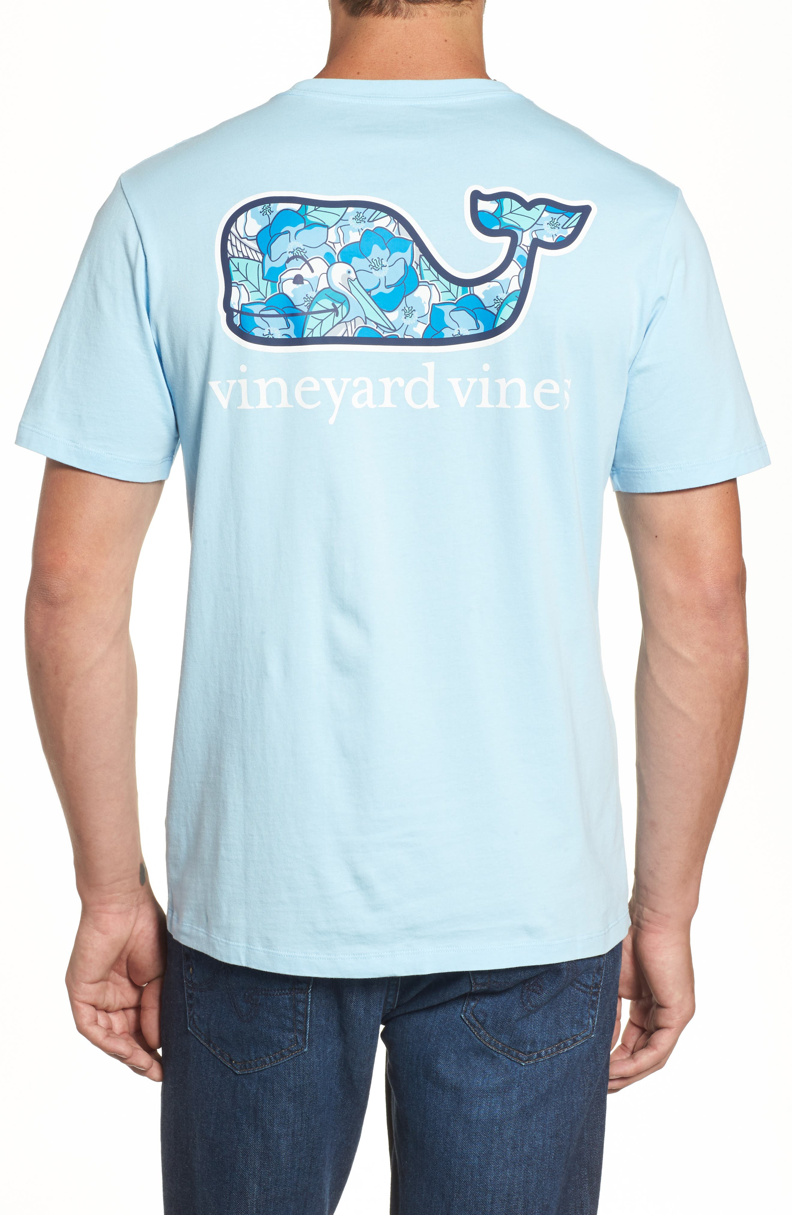 Pelican Magnolias Graphic T-Shirt,                             Main thumbnail 1, color,                             Airy Blue