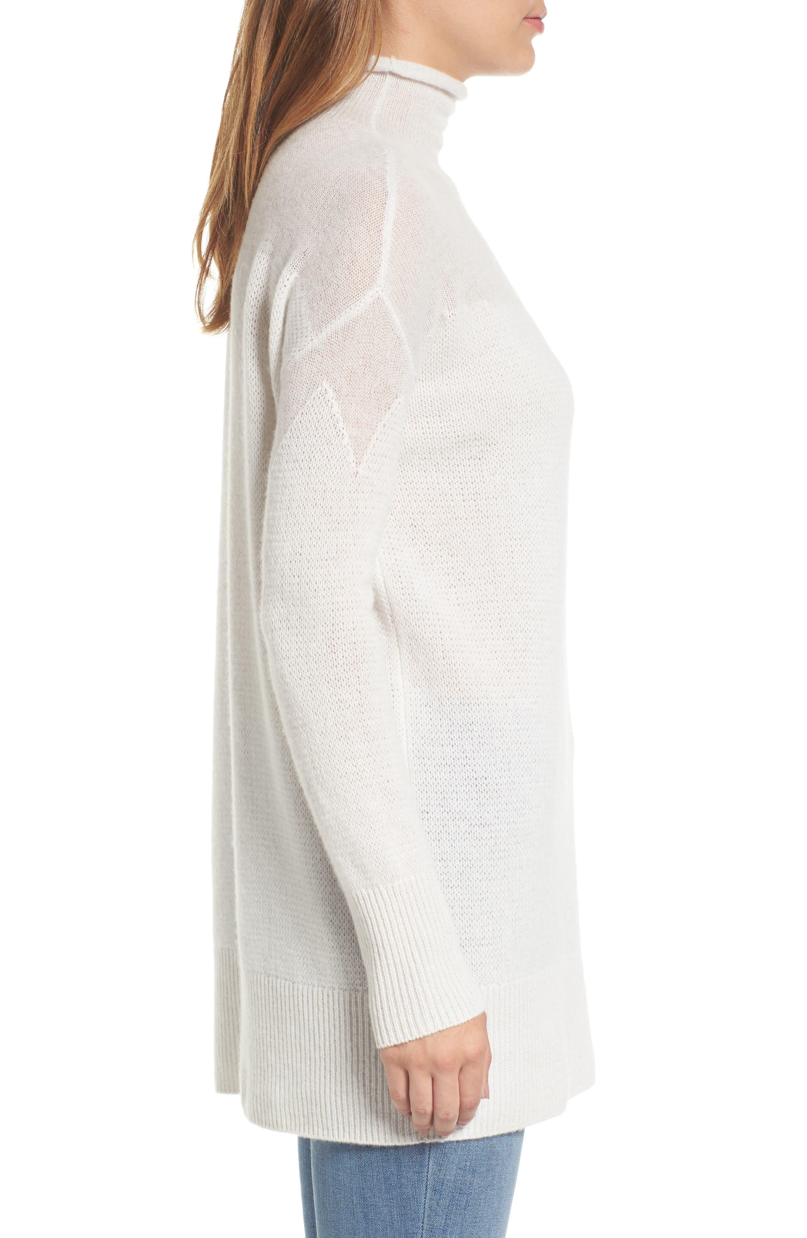 Alternate Image 3  - Halogen® Sheer Yoke Cashmere Sweater (Regular & Petite)