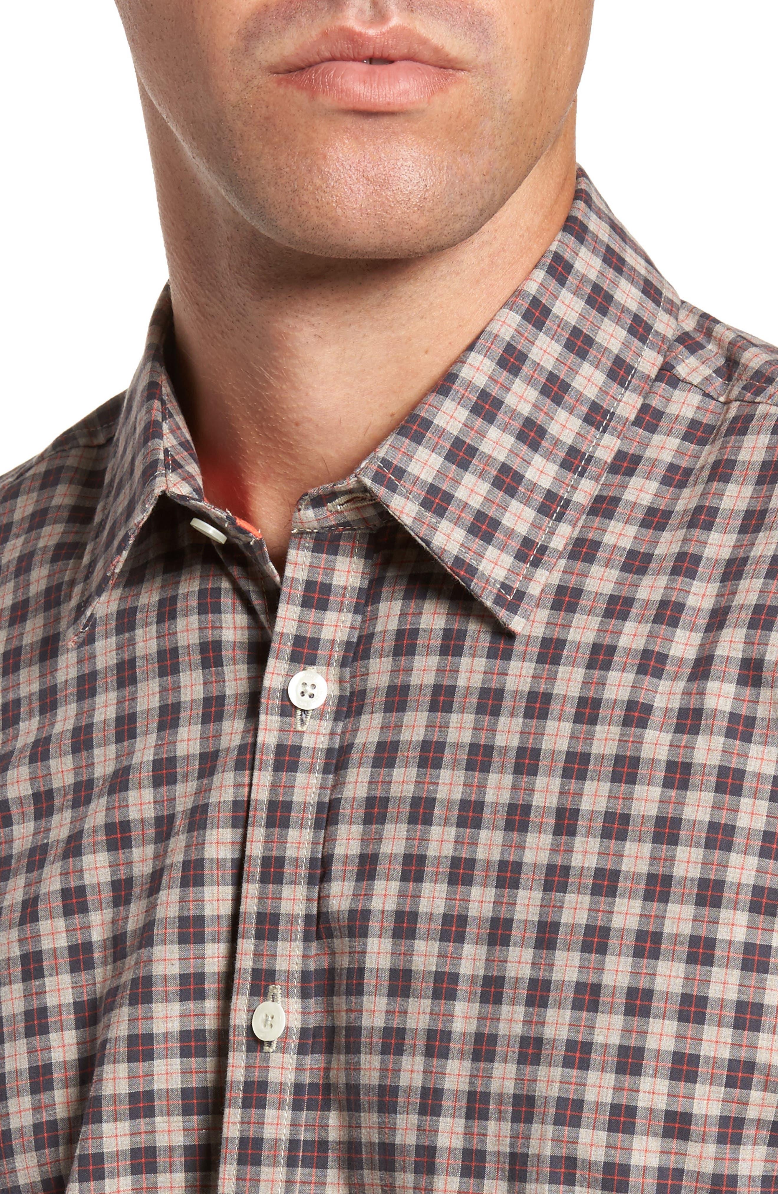 Comfort Fit Plaid Sport Shirt,                             Alternate thumbnail 4, color,                             Medium Brown