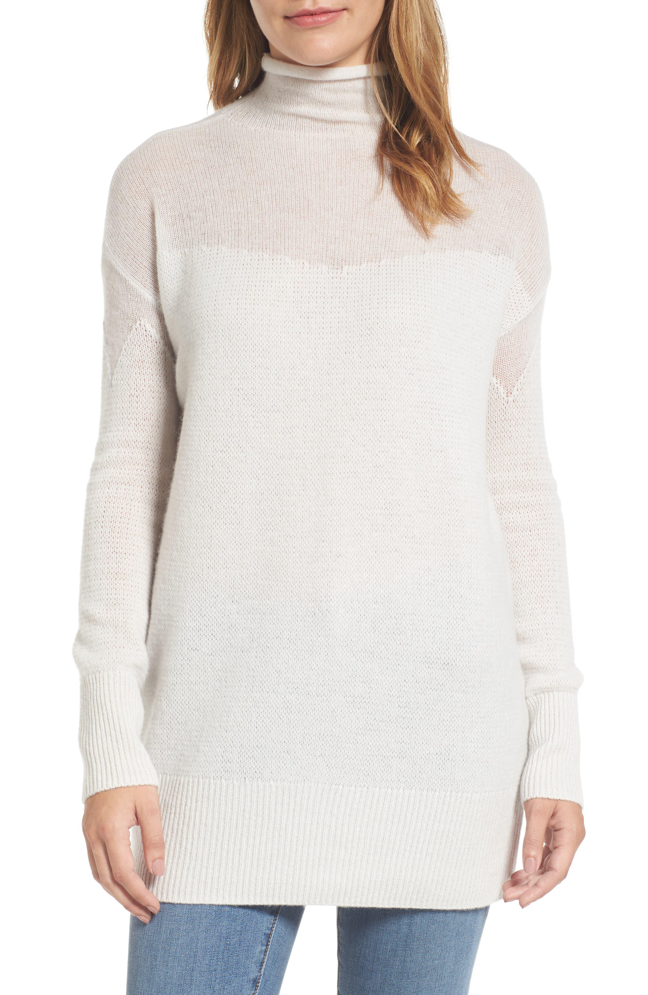 Main Image - Halogen® Sheer Yoke Cashmere Sweater (Regular & Petite)