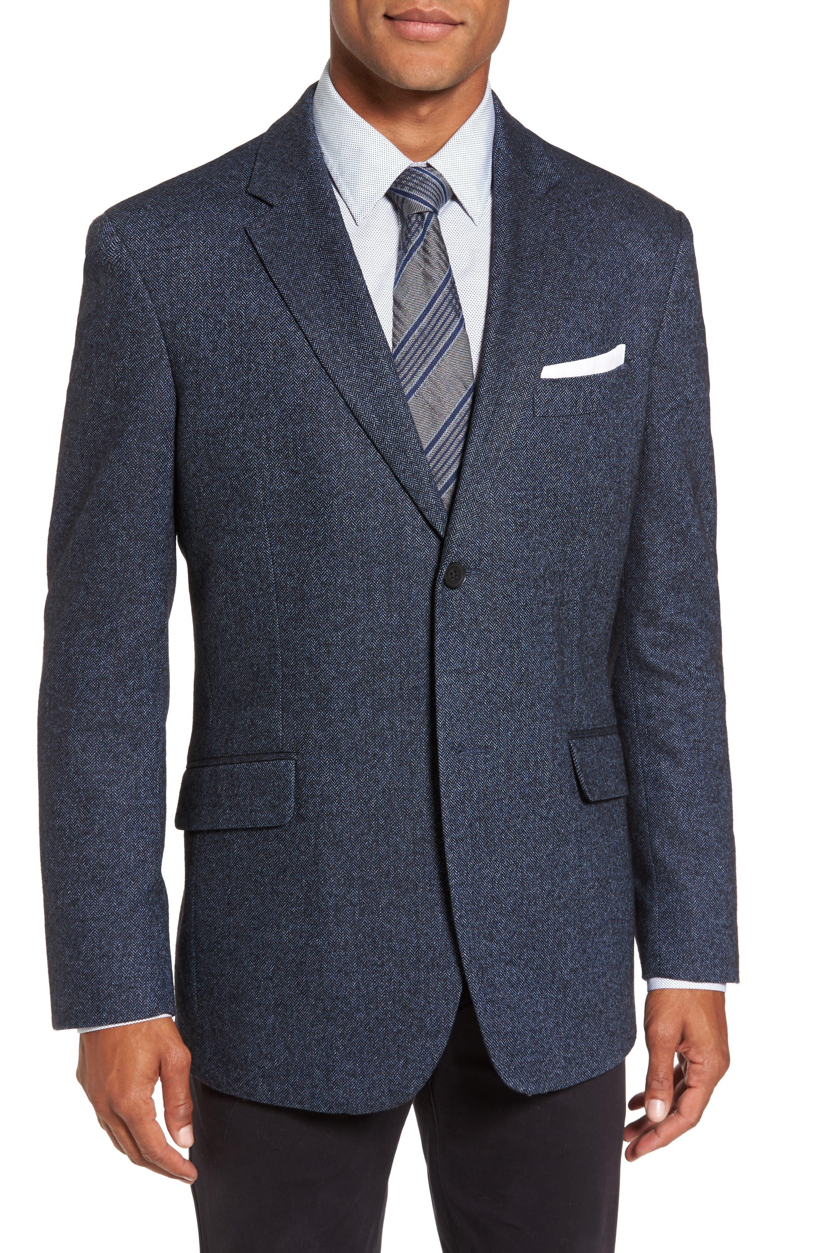 Charring Cross Original Fit Herringbone Sport Coat,                         Main,                         color, Bluestone