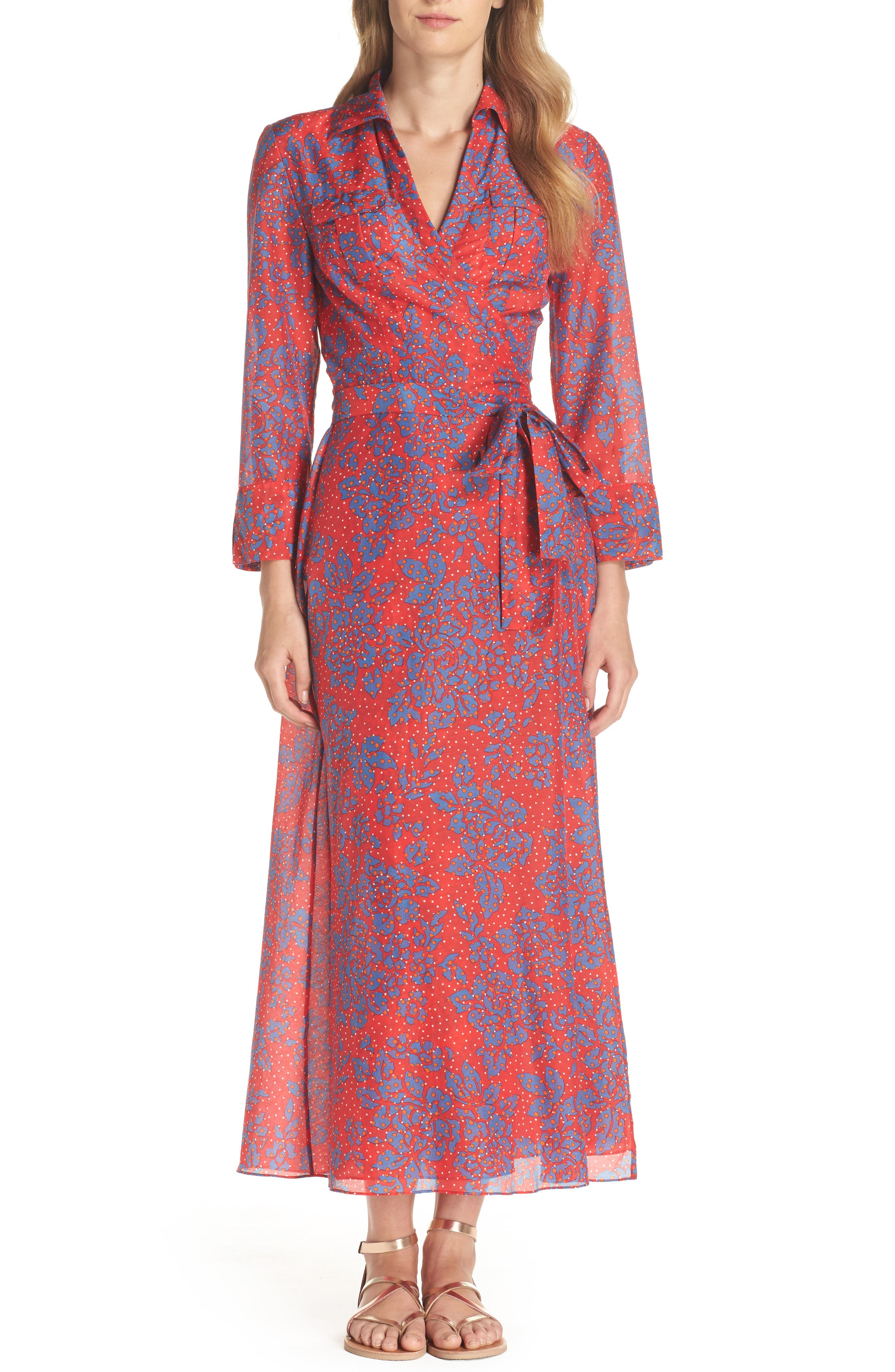Long Cover-Up Wrap Dress,                         Main,                         color, Callow Bright Red