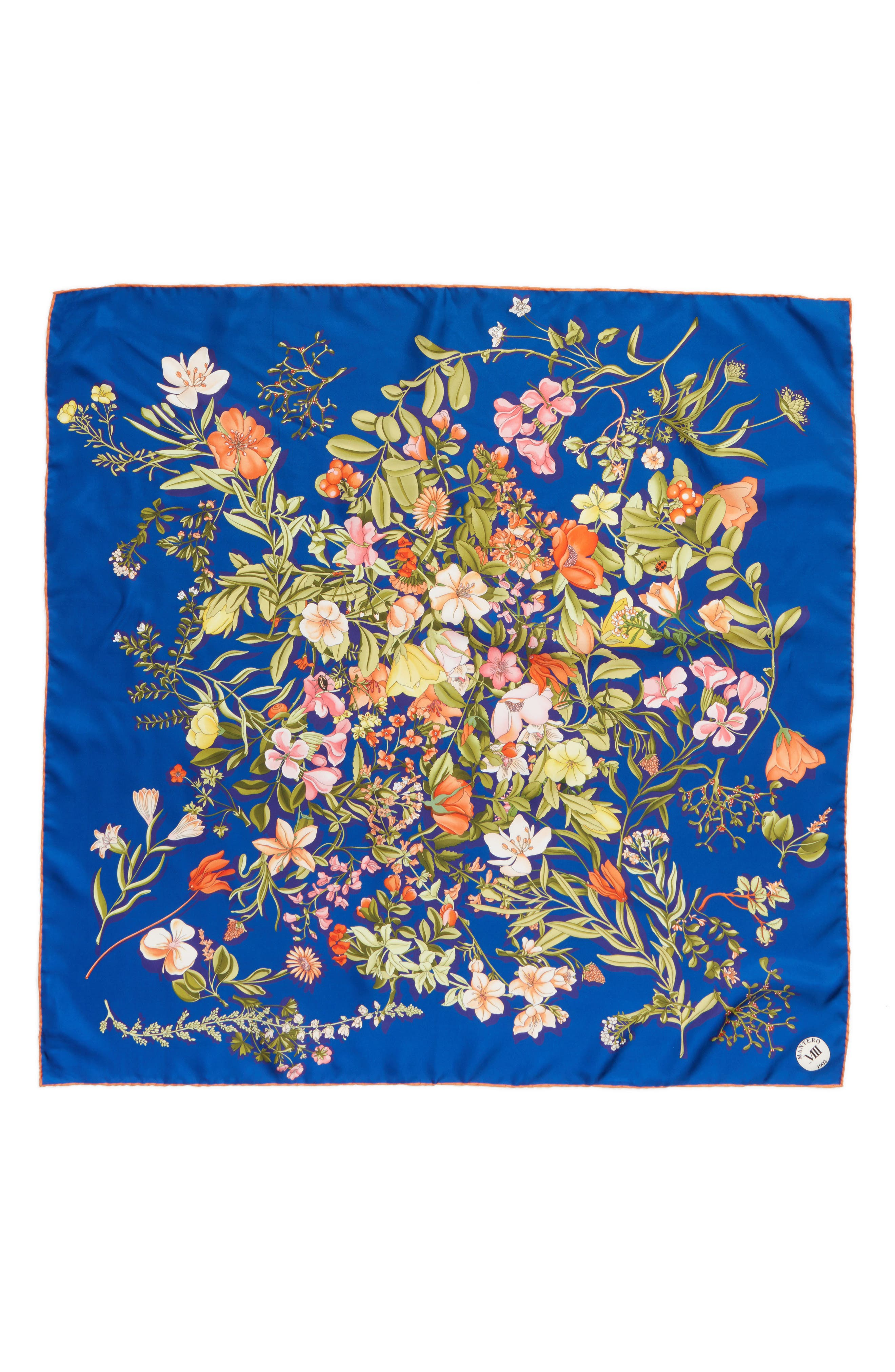 Archivio N.39 Square Silk Scarf,                         Main,                         color, Blue