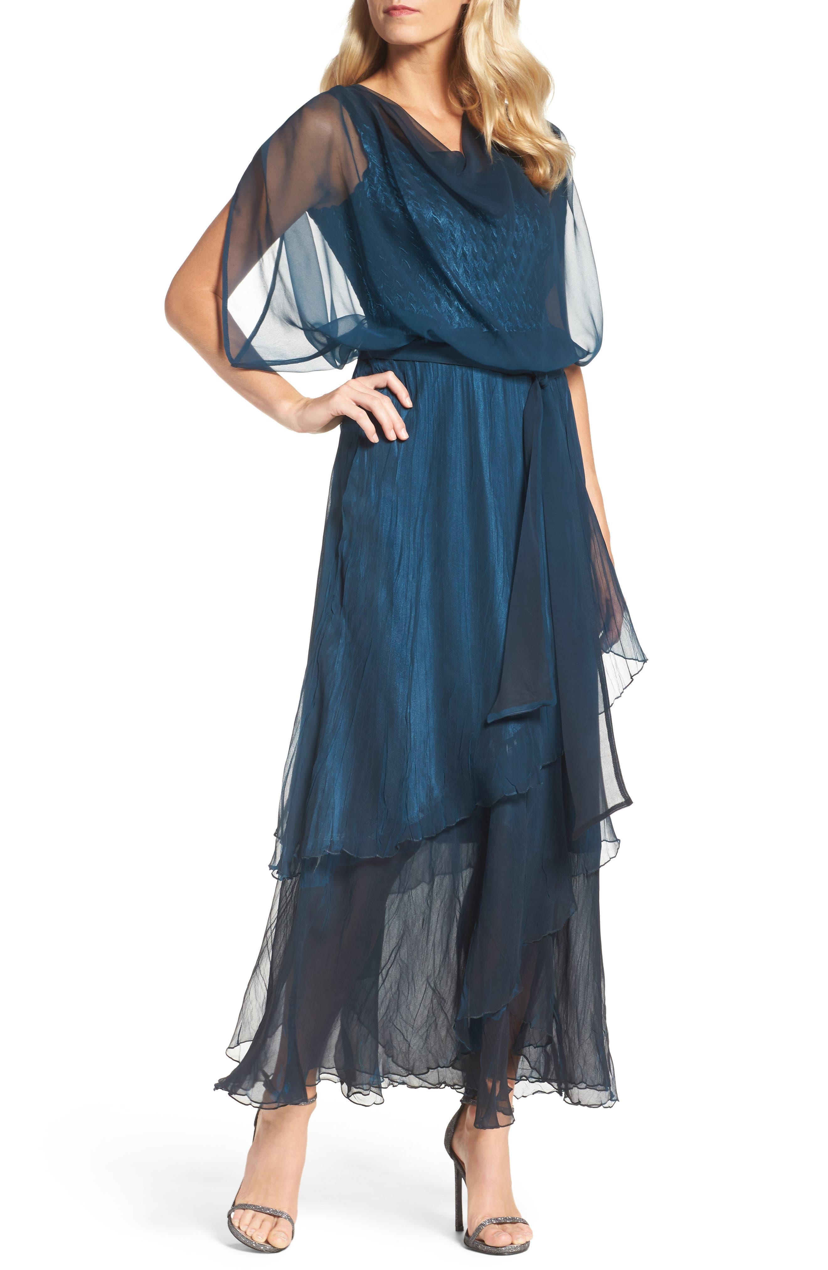 Chiffon Overlay Long Blouson Dress,                         Main,                         color, Moroccan Blue Black