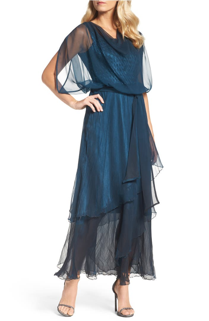 Komarov chiffon overlay long blouson dress nordstrom for Nordstrom women s wedding guest dresses