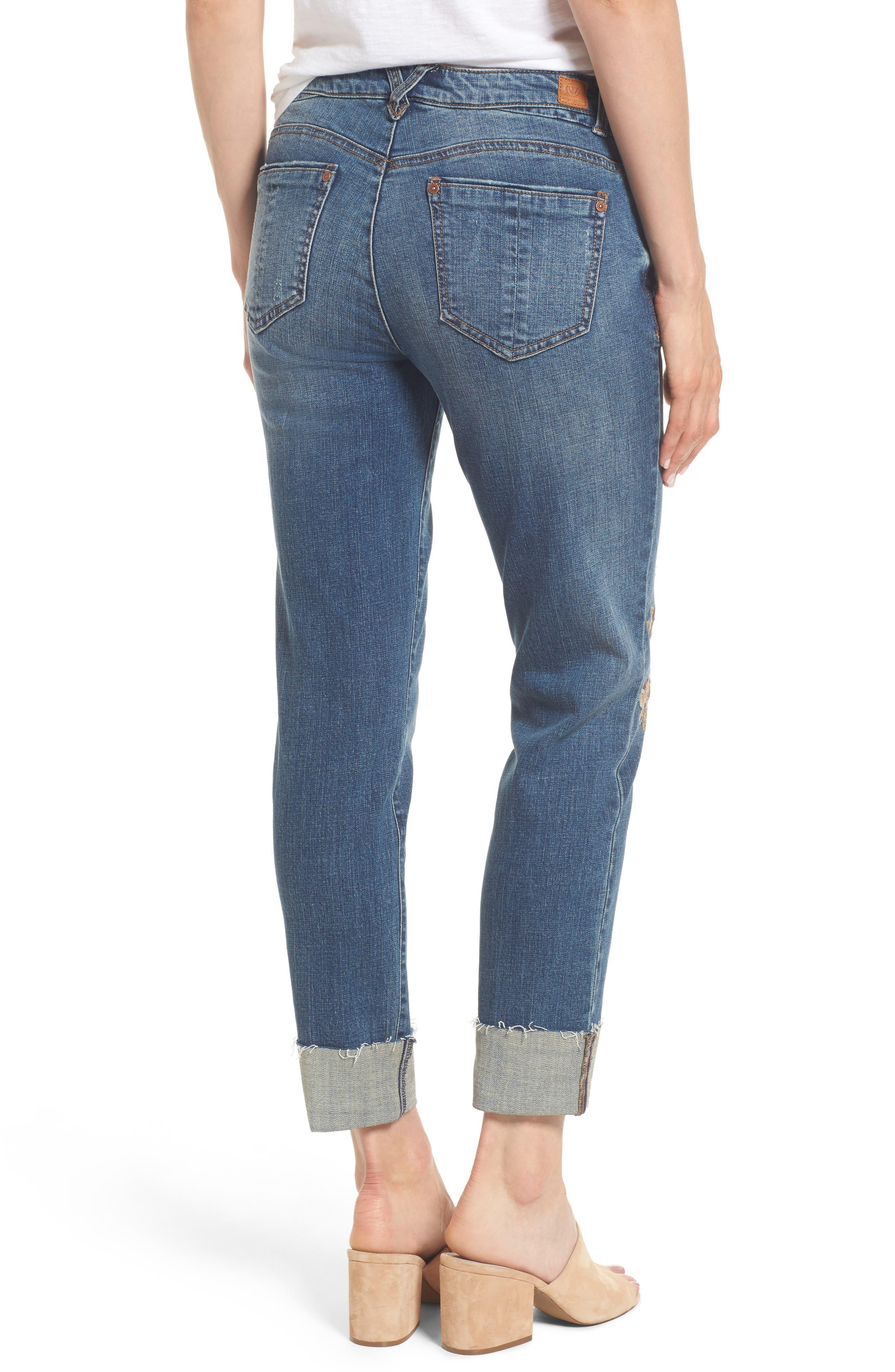 Flex-ellent Embroidered Boyfriend Jeans,                             Alternate thumbnail 2, color,                             Blue