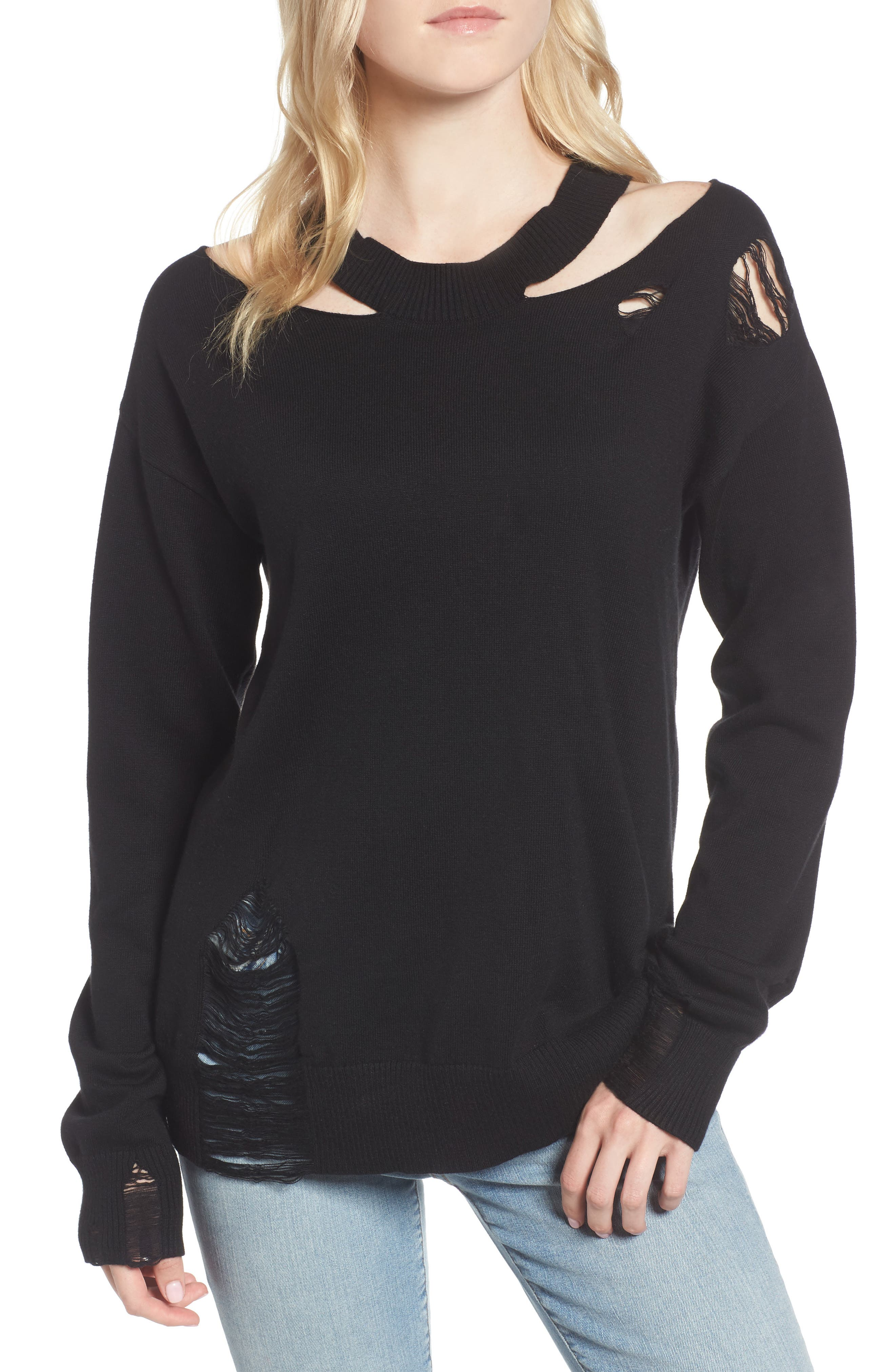 Julian Distressed Sweatshirt,                         Main,                         color, Black Cat