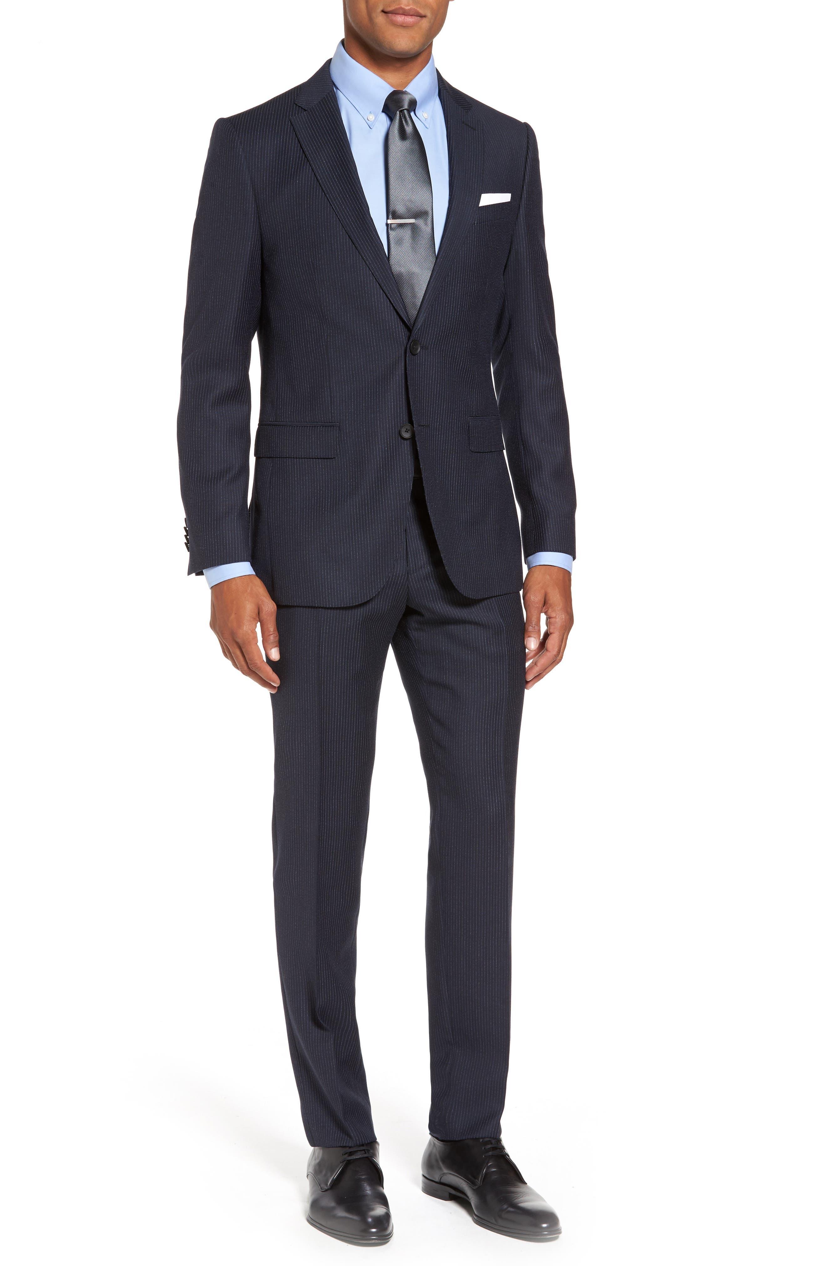 HUGO Novan/Ben Trim Fit Stripe Wool Suit