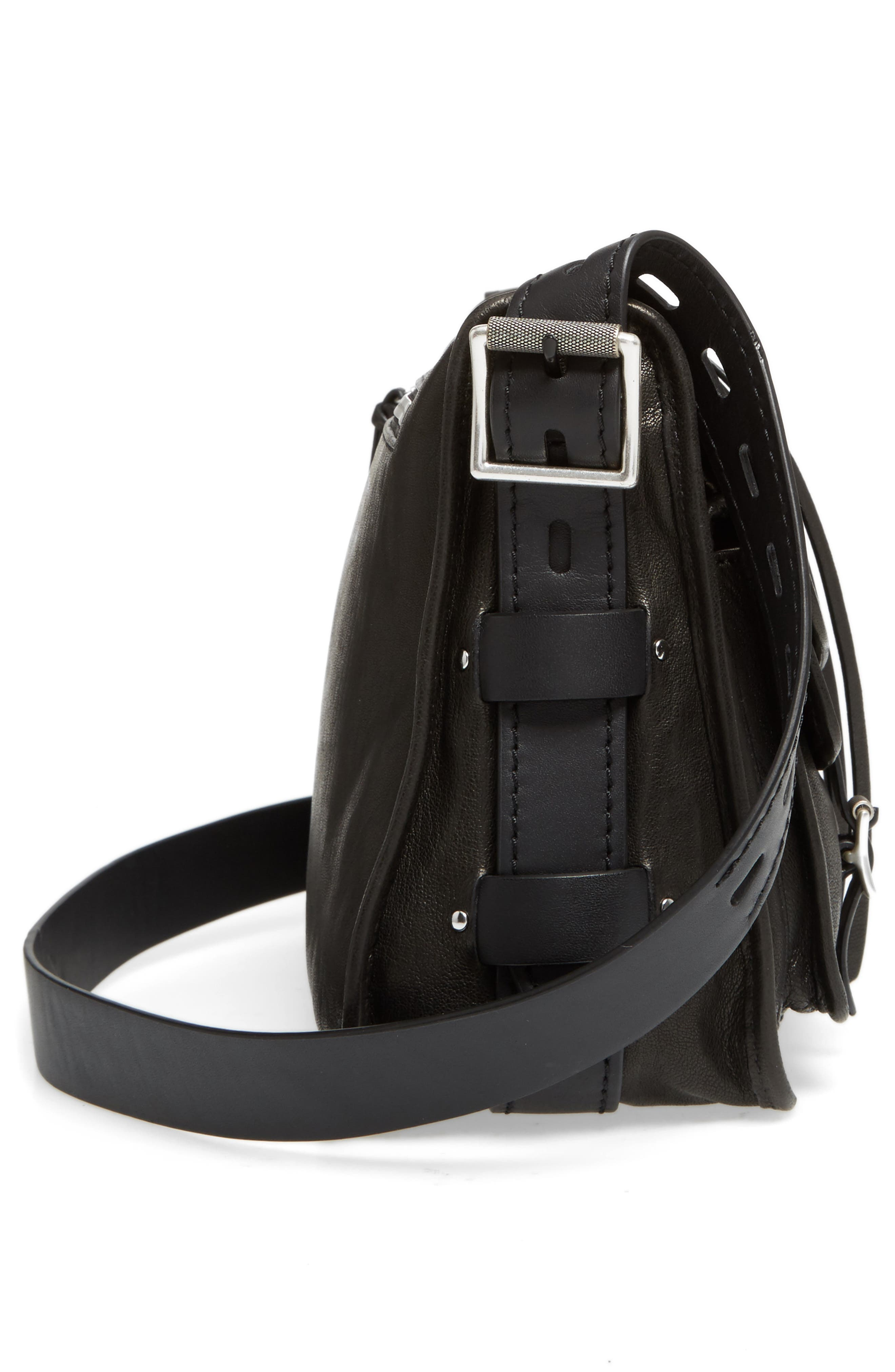 Field Leather Messenger Bag,                             Alternate thumbnail 4, color,                             Black