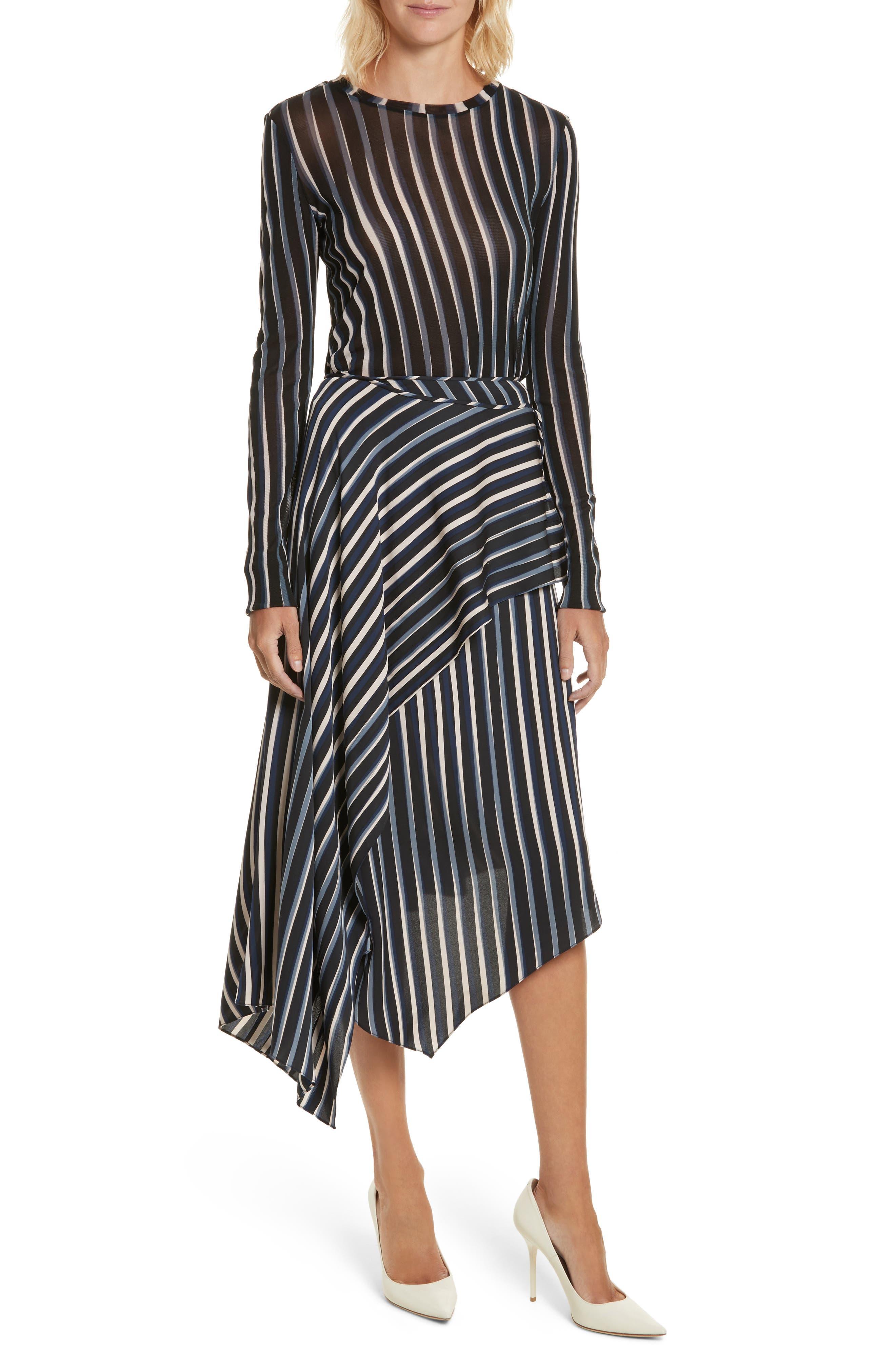 Striped Asymmetrical Midi Skirt,                             Alternate thumbnail 5, color,                             Whiston Black