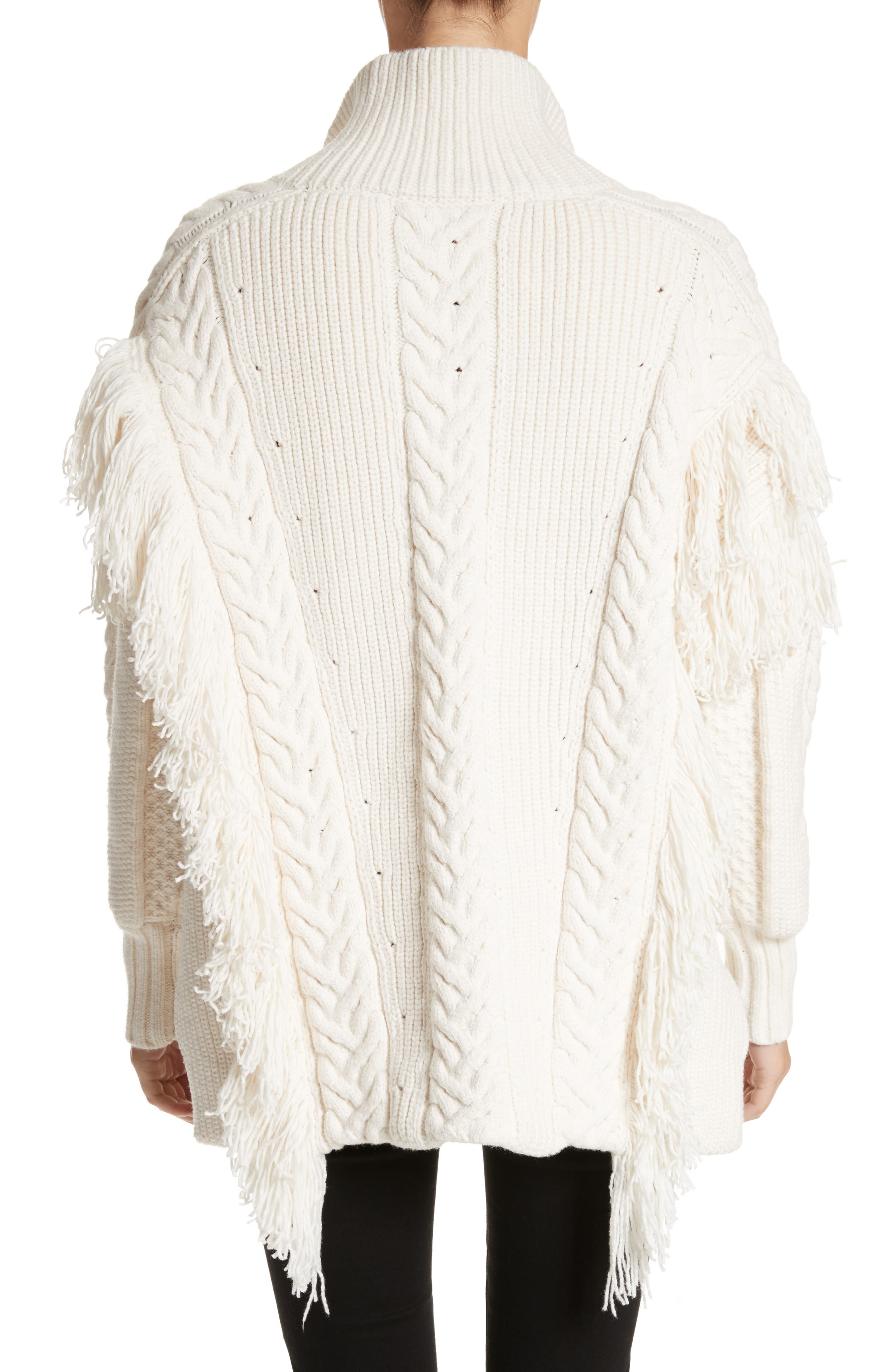 Alternate Image 2  - Burberry Borbore Fringed Cable Knit Sweater