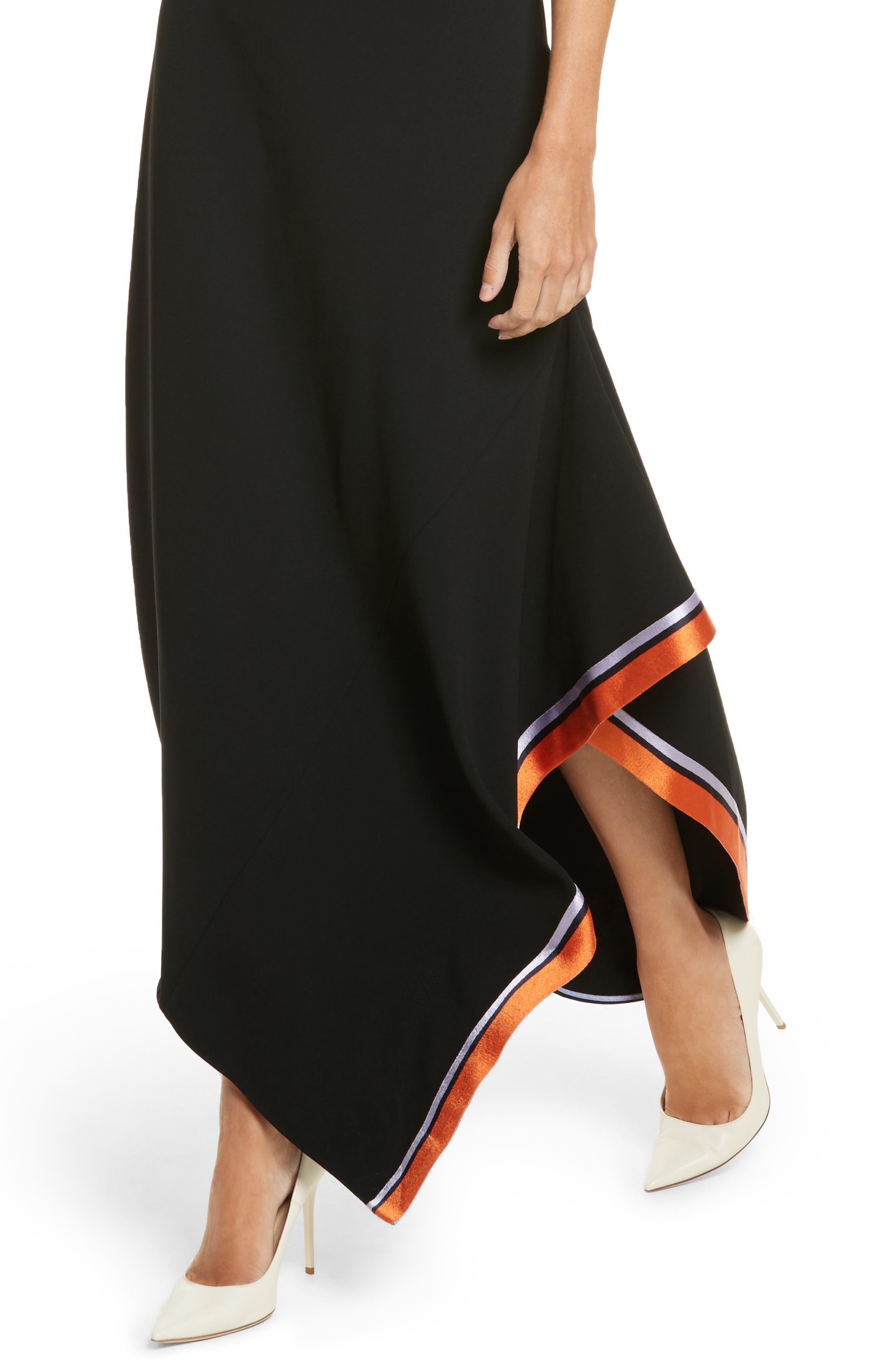 Open Back Ribbon Trim Dress,                             Alternate thumbnail 4, color,                             Black
