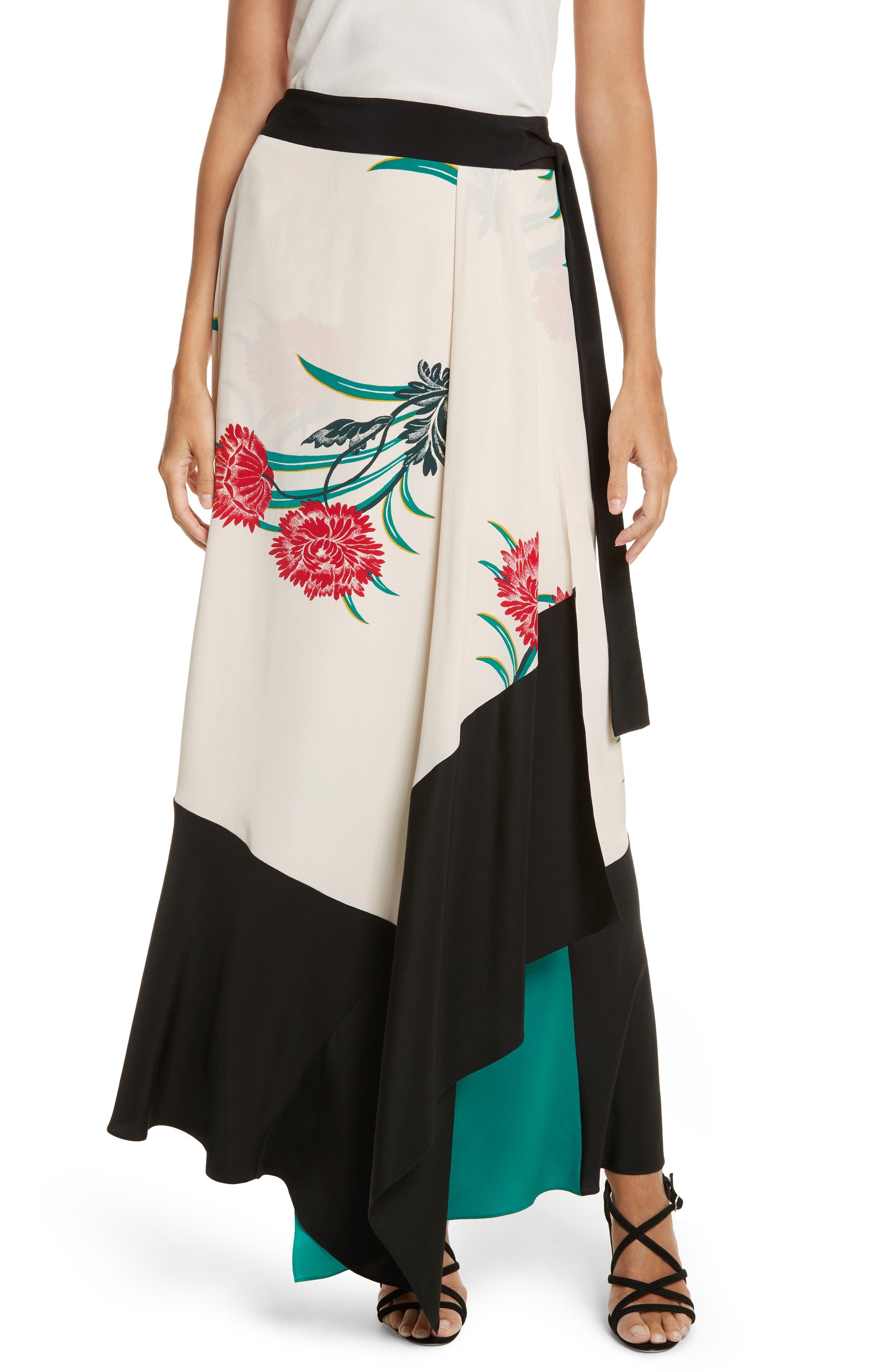 Draped Wrap Silk Midi Skirt,                             Main thumbnail 1, color,                             Farren Pearl/ Black/ Jade
