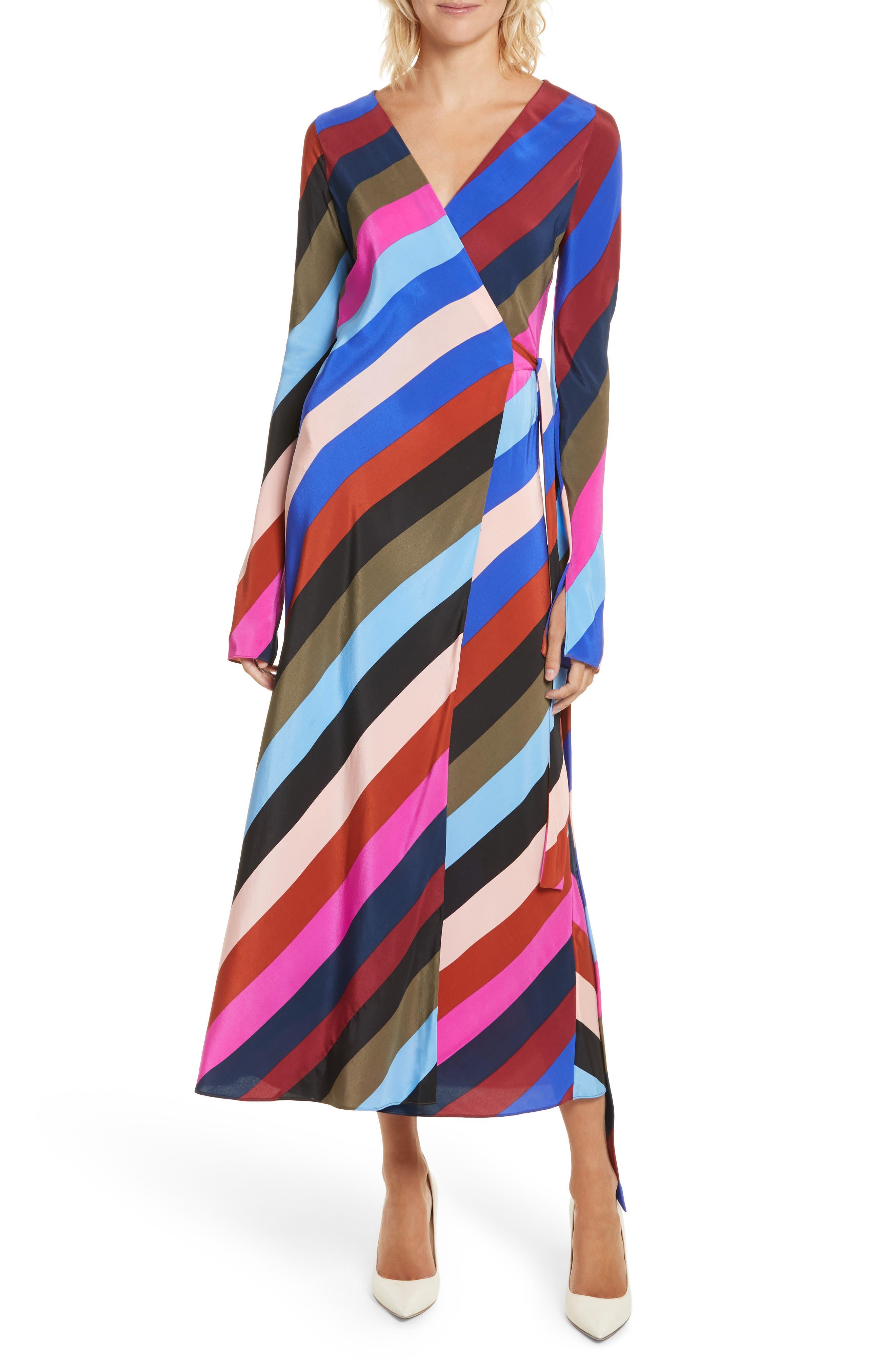 Stripe Silk Wrap Midi Dress,                         Main,                         color, Carson Stripe Black Multi