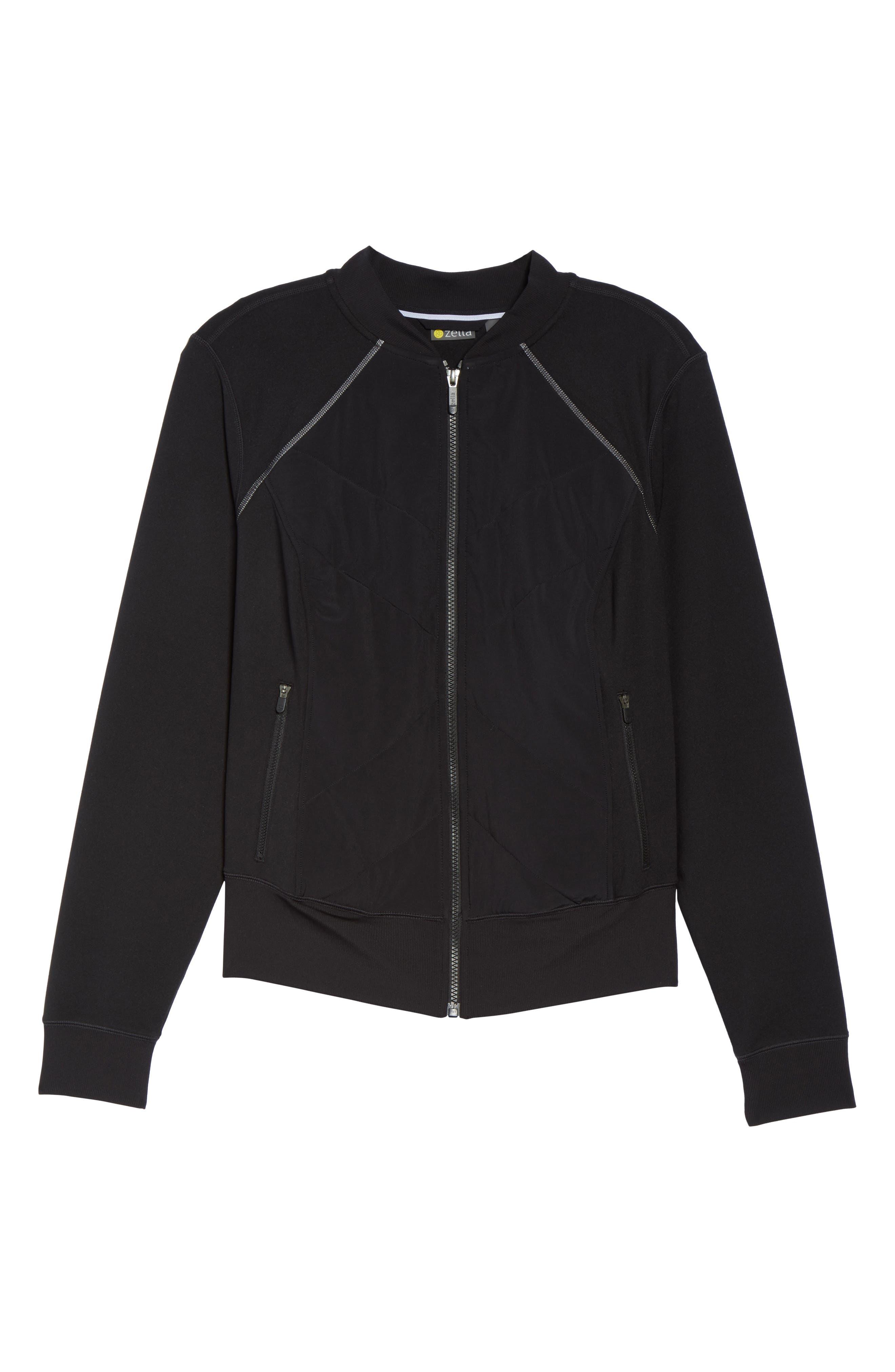 Wear It Out Bomber Jacket,                             Alternate thumbnail 6, color,                             Black