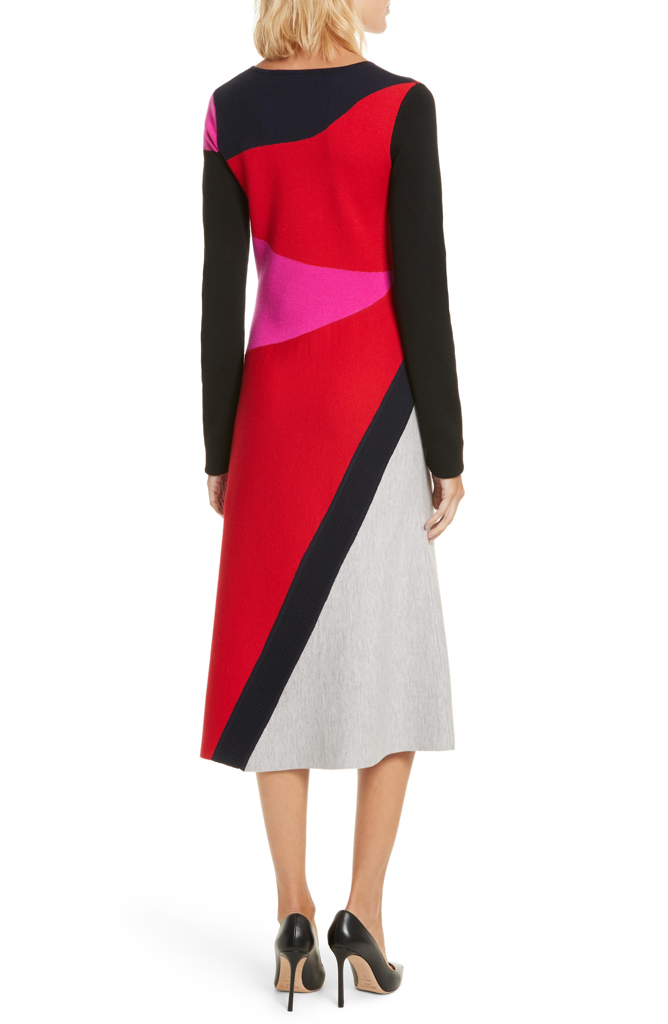 Colorblock Intarsia Dress,                             Alternate thumbnail 2, color,                             Lipstick Multi