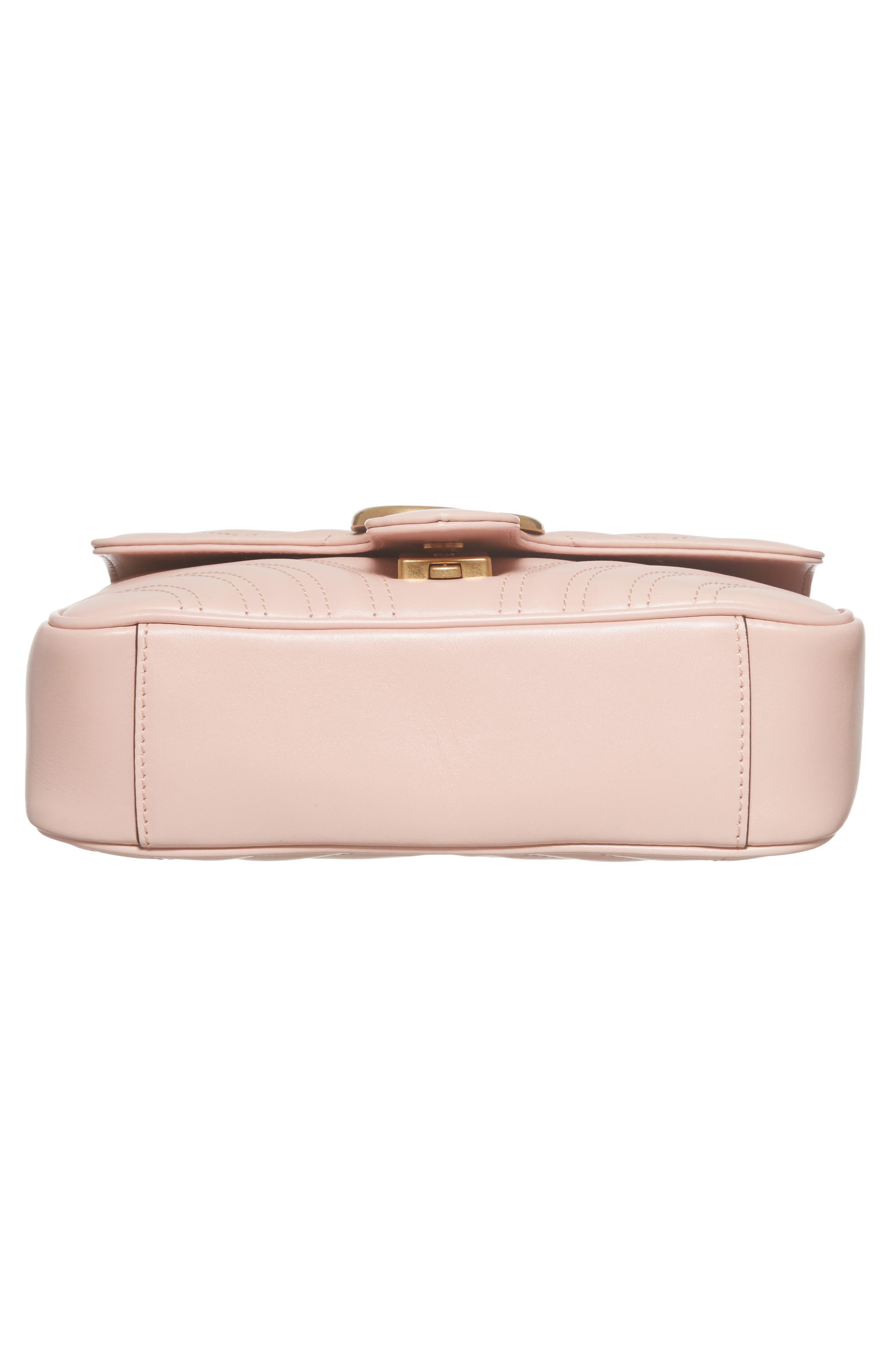 Mini GG Marmont 2.0 Matelassé Leather Shoulder Bag,                             Alternate thumbnail 5, color,                             Perfect Pink