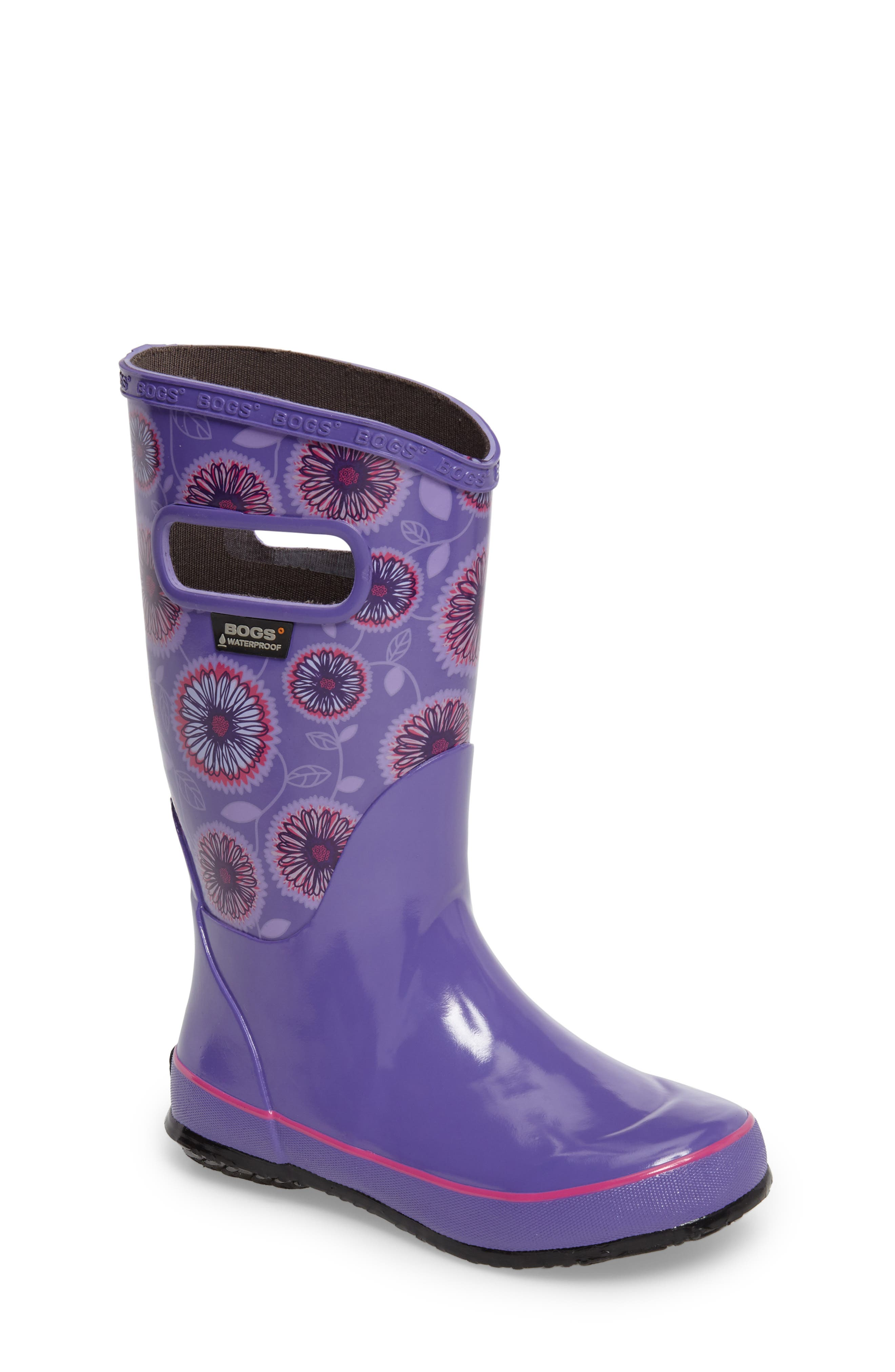 Wildflowers Rubber Rain Boot,                             Main thumbnail 1, color,                             Violet Multi