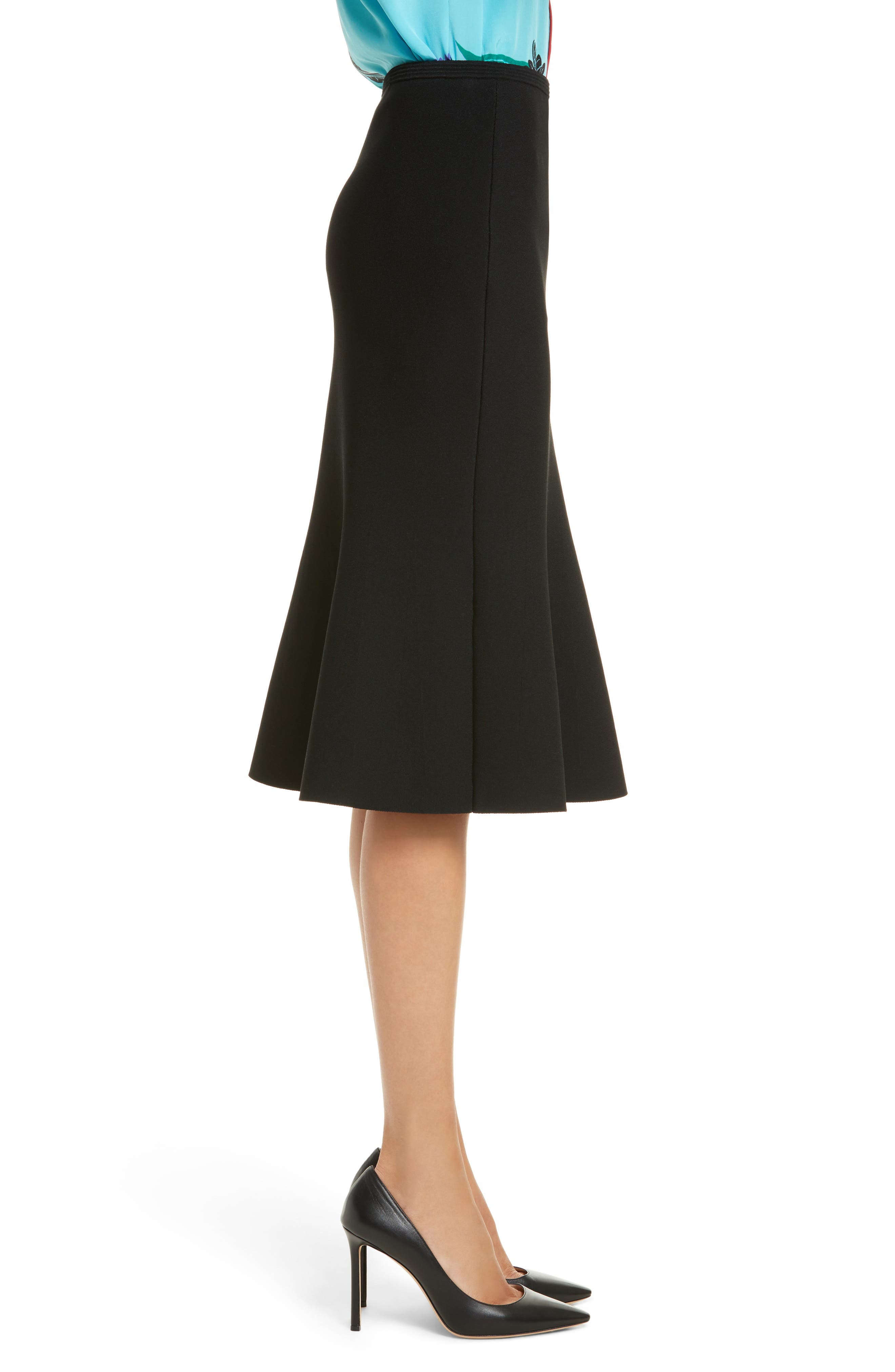 Flute Knit Skirt,                             Alternate thumbnail 3, color,                             Black
