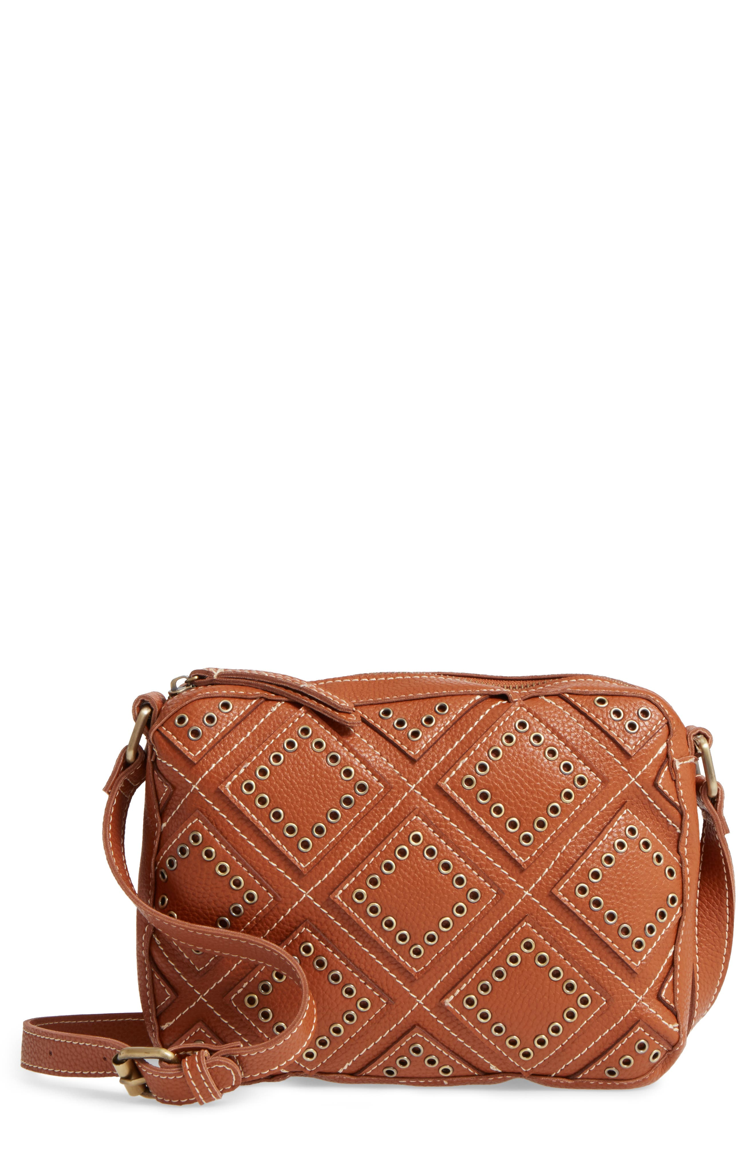 Skylar Faux Leather Crossbody Bag,                             Main thumbnail 1, color,                             Saddle