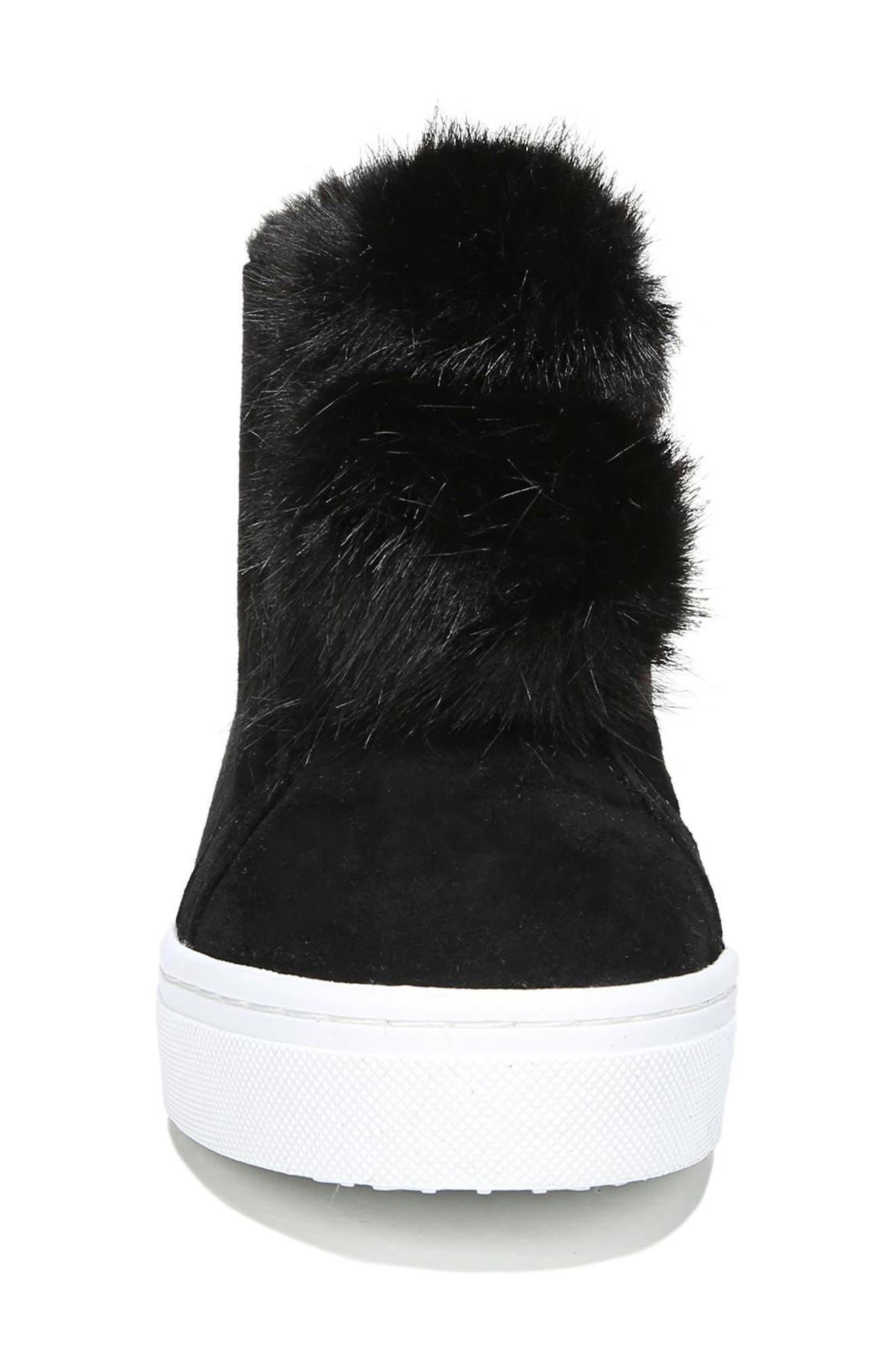 Lear Faux Fur Sneaker,                             Alternate thumbnail 4, color,                             Black Suede
