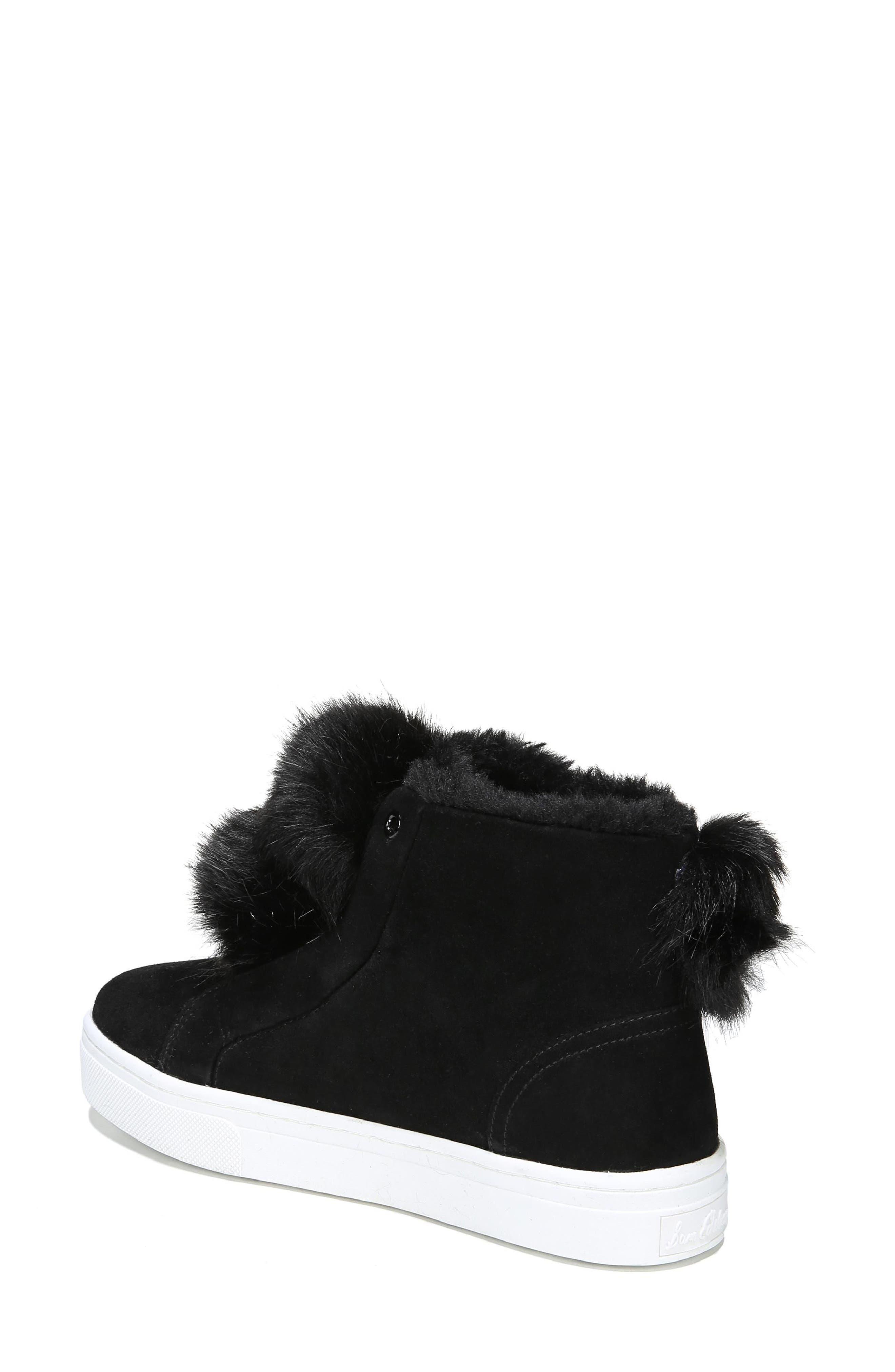 Lear Faux Fur Sneaker,                             Alternate thumbnail 2, color,                             Black Suede