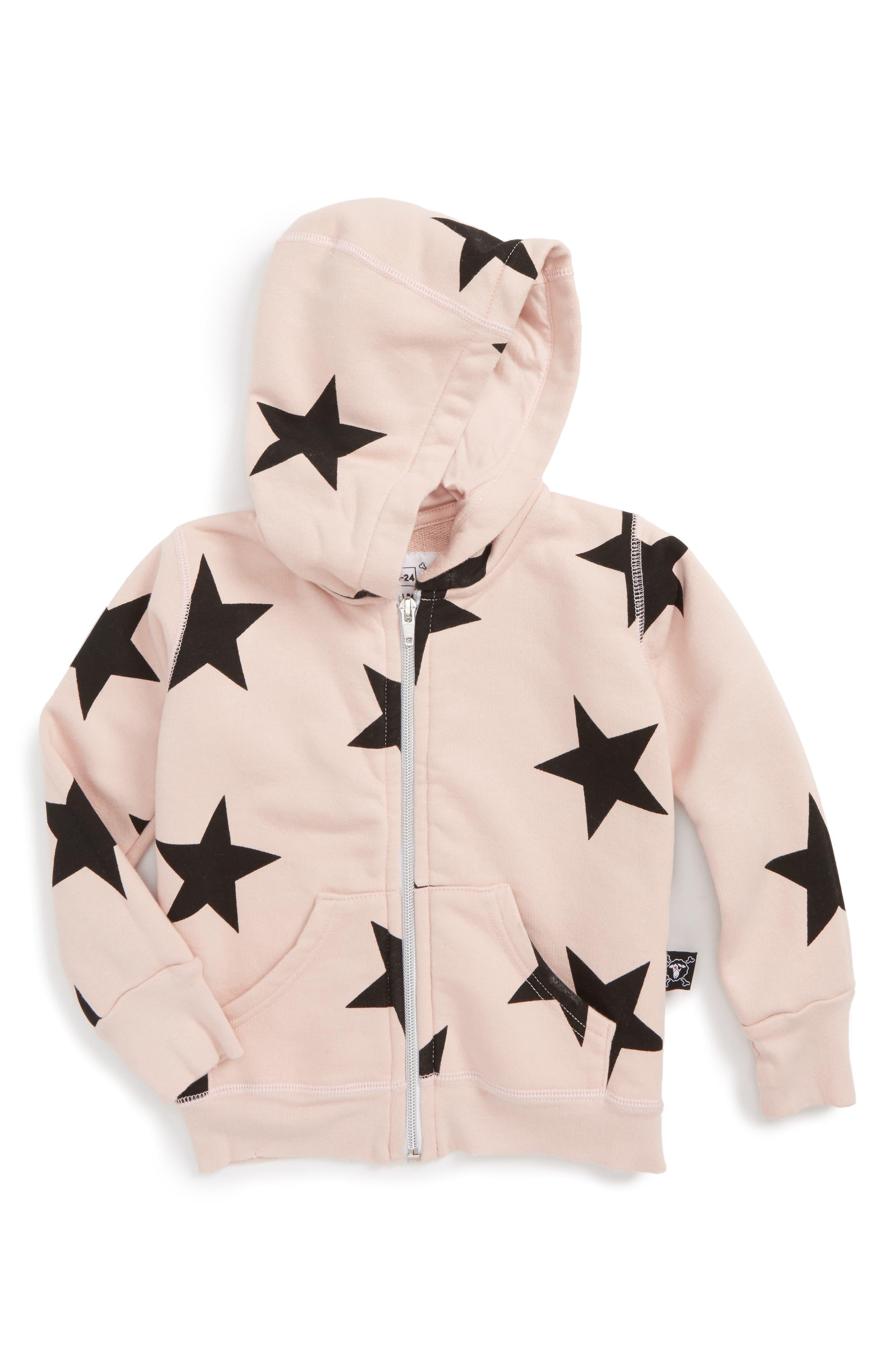Alternate Image 1 Selected - NUNUNU Star Zip Hoodie (Baby Girls)