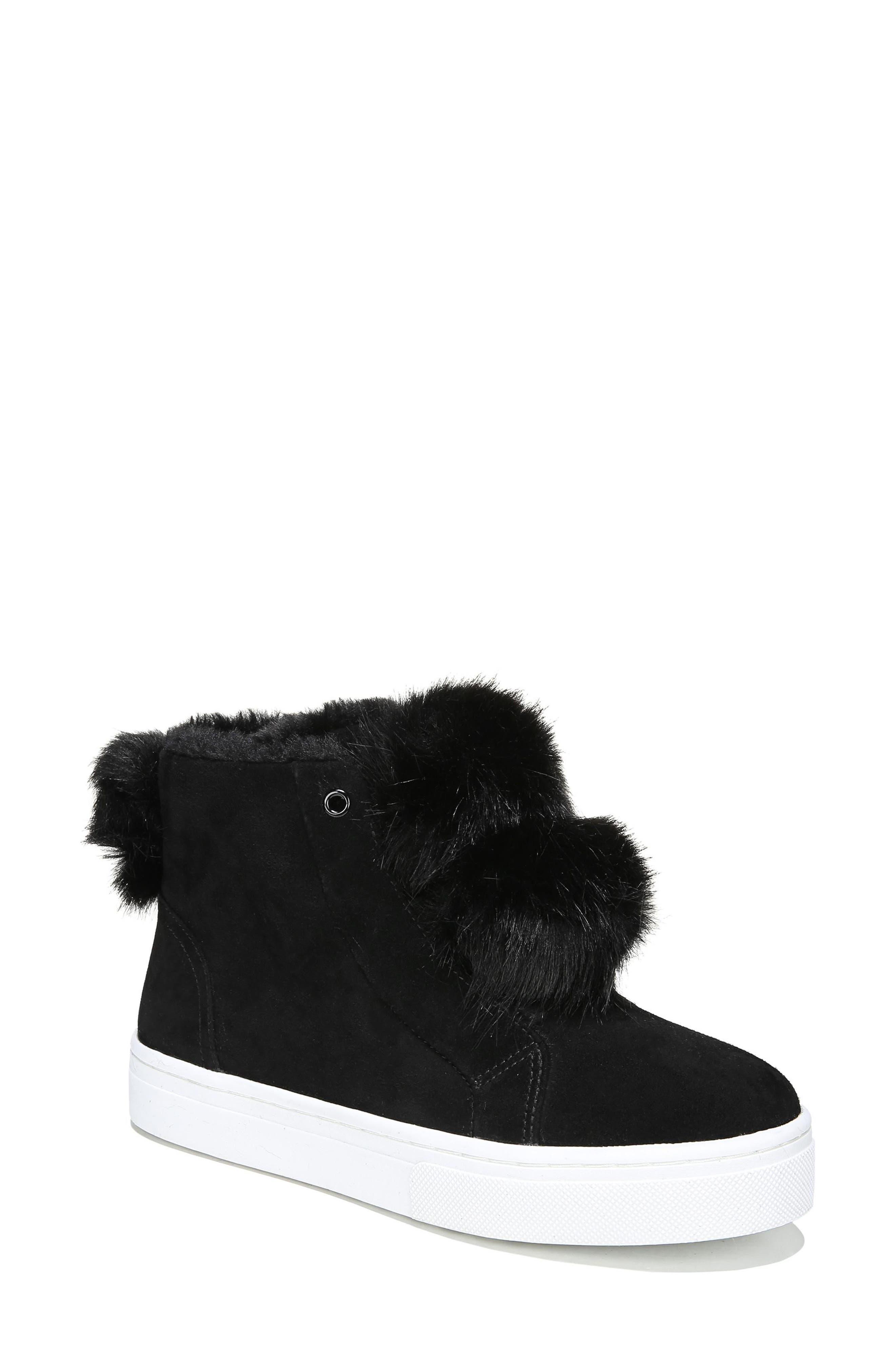 Lear Faux Fur Sneaker,                         Main,                         color, Black Suede