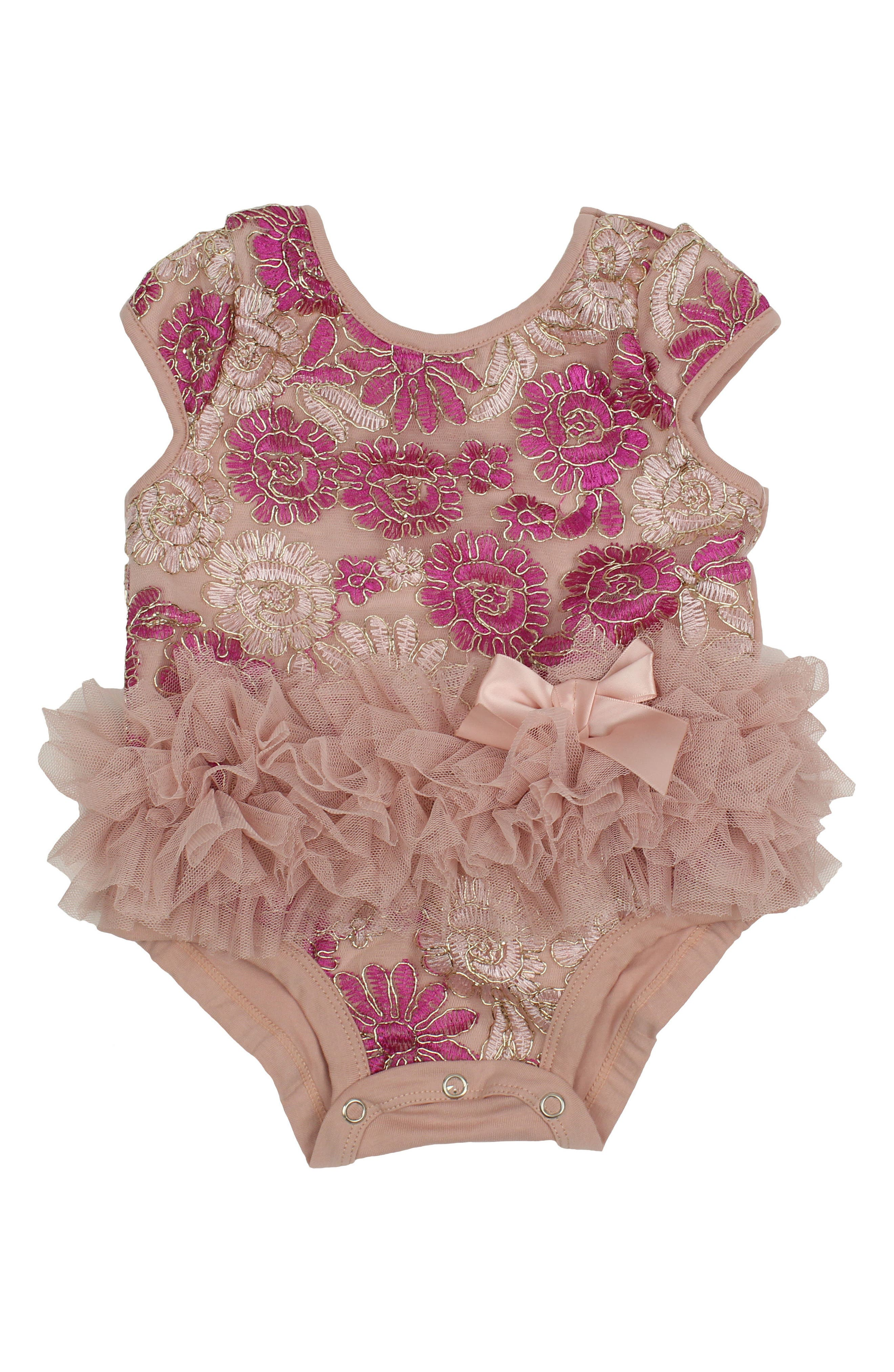Tulle Bodysuit,                         Main,                         color, Dusty Pink