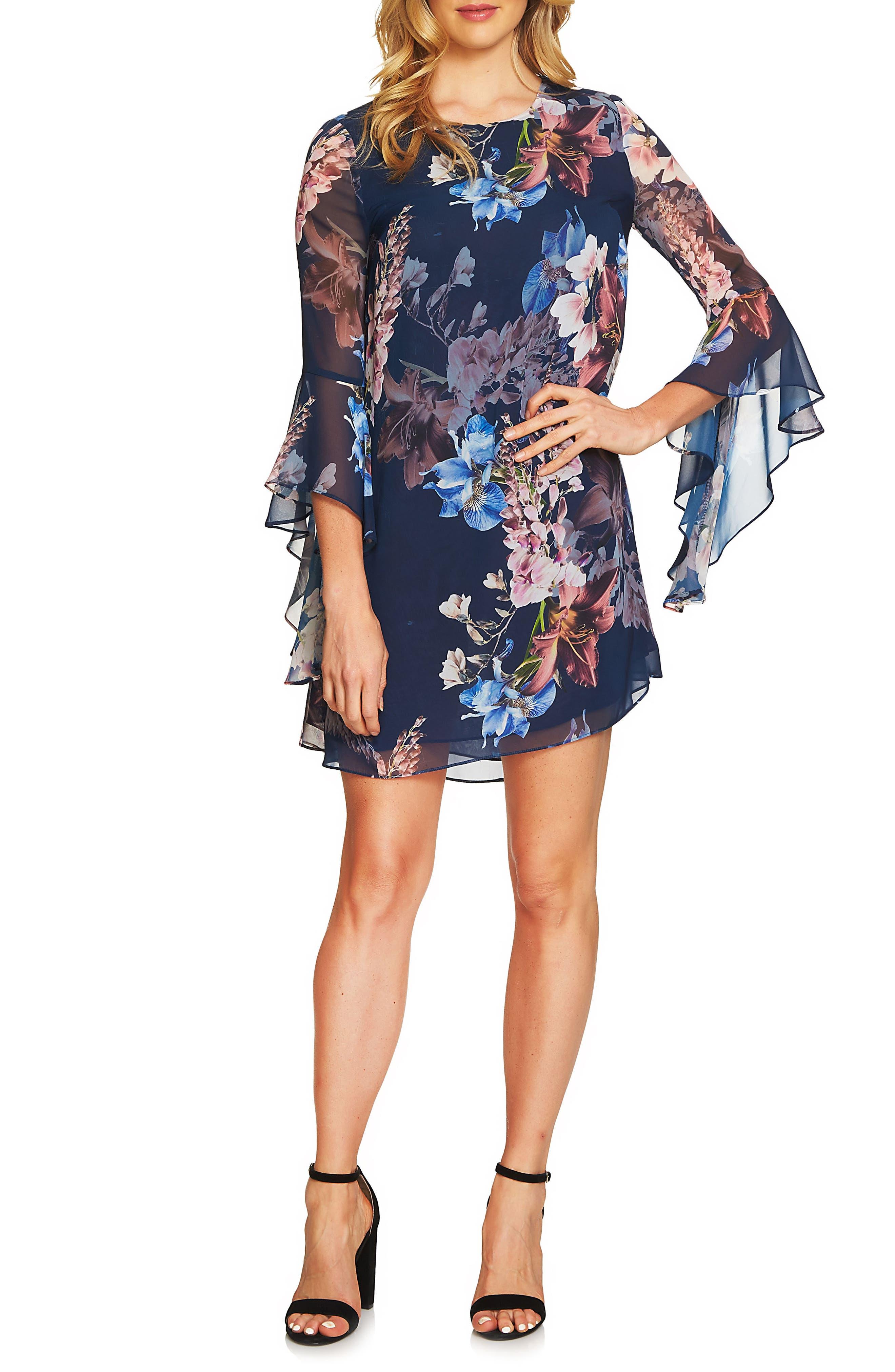 Ashley Bell Sleeve Shift Dress,                         Main,                         color, Midnight Bloom