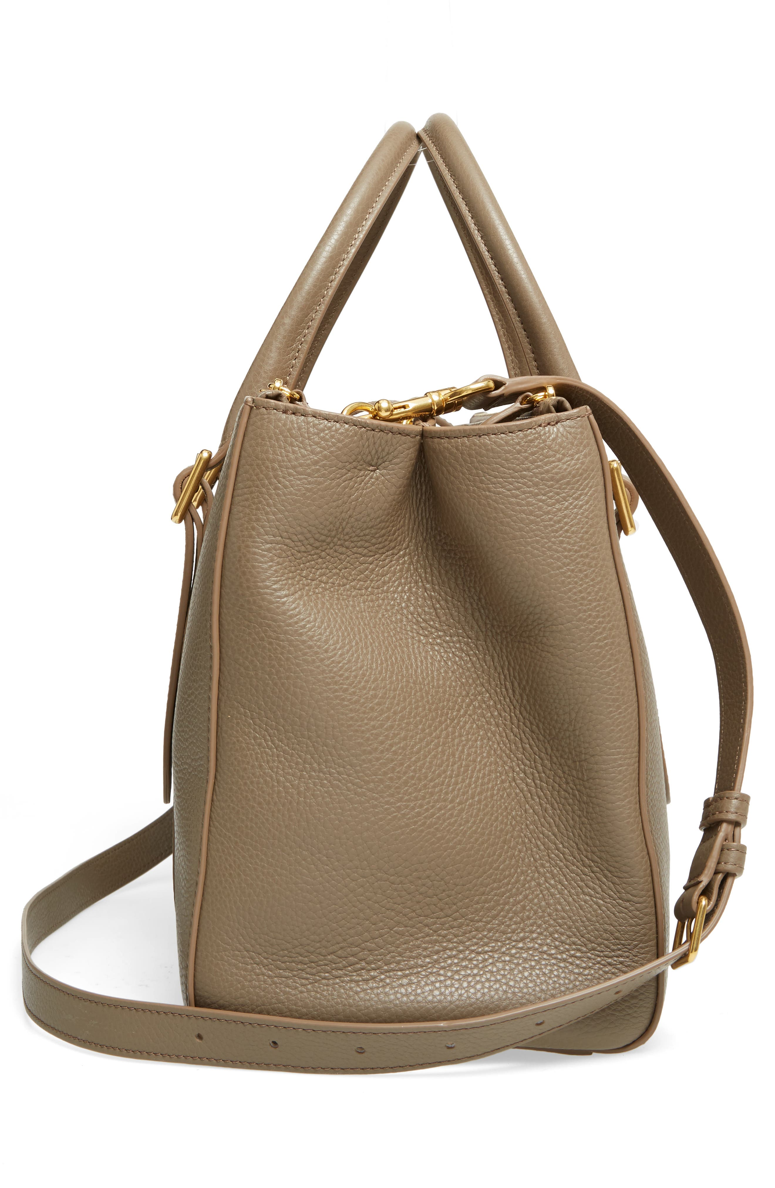 Bayswater Double Zip Leather Satchel,                             Alternate thumbnail 5, color,                             Clay