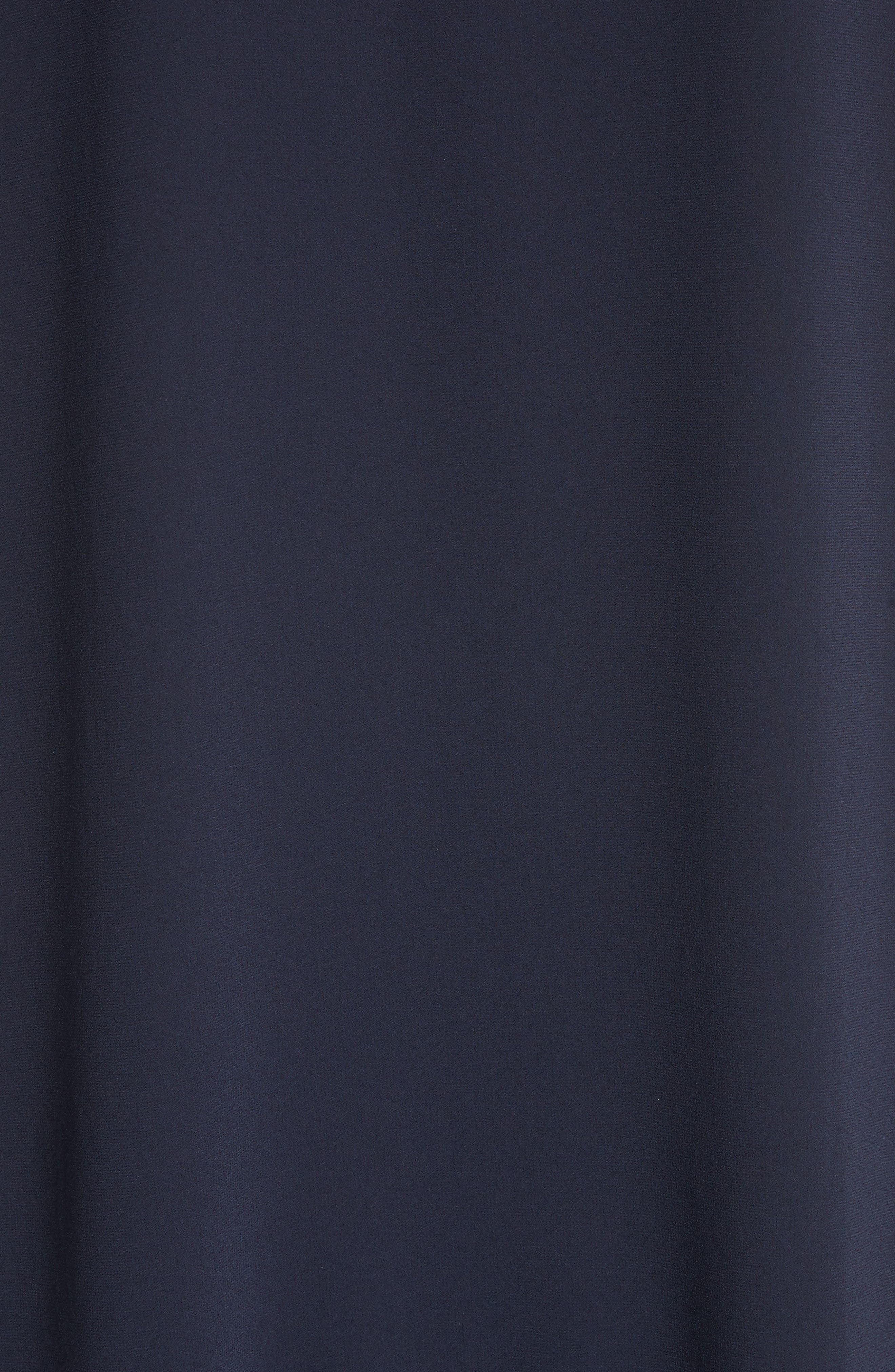 Asymmetrical Satin Back Crepe Top,                             Alternate thumbnail 6, color,                             Navy