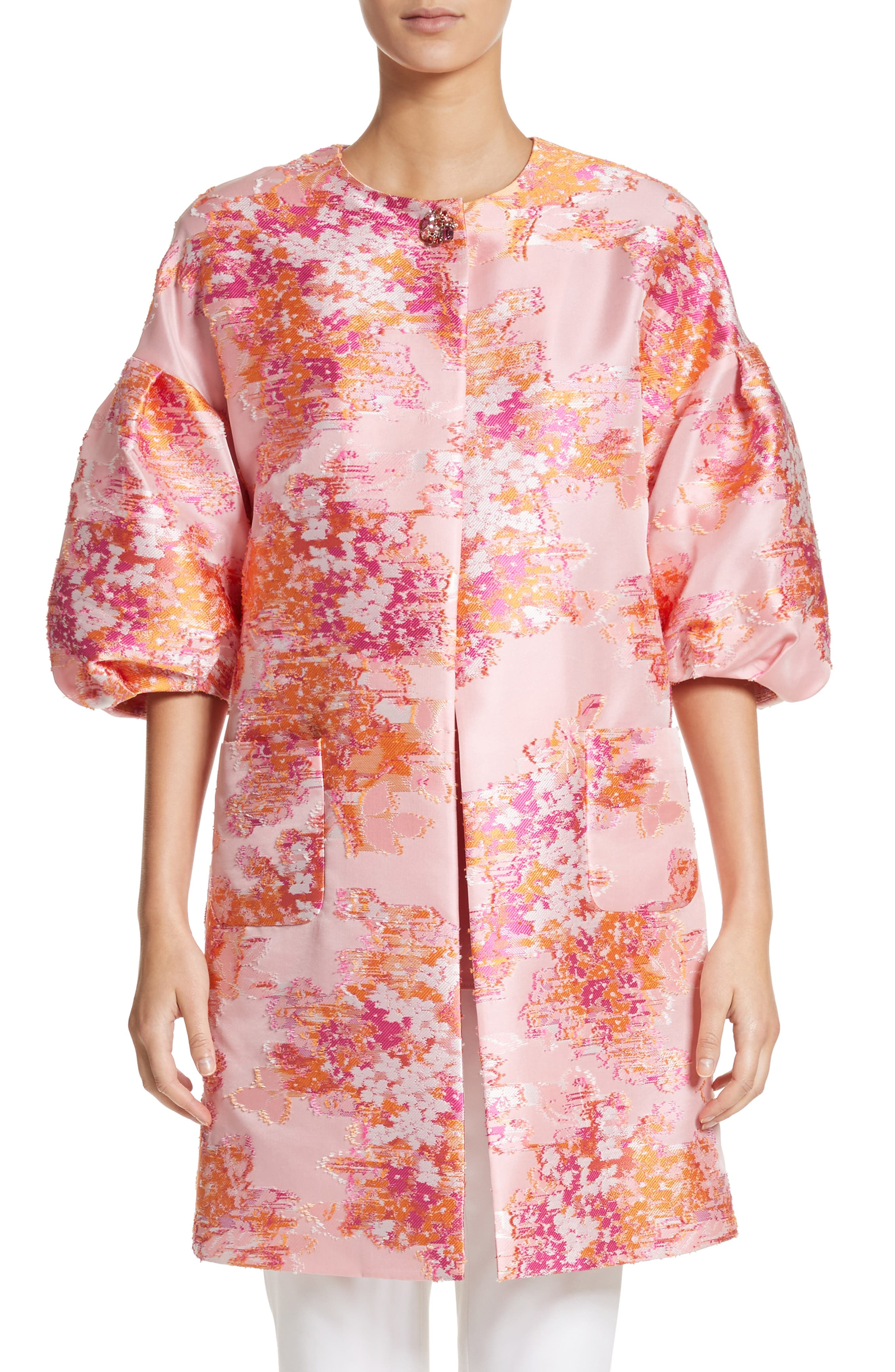 Main Image - St. John Collection Washed Bouquet Jacquard Topper