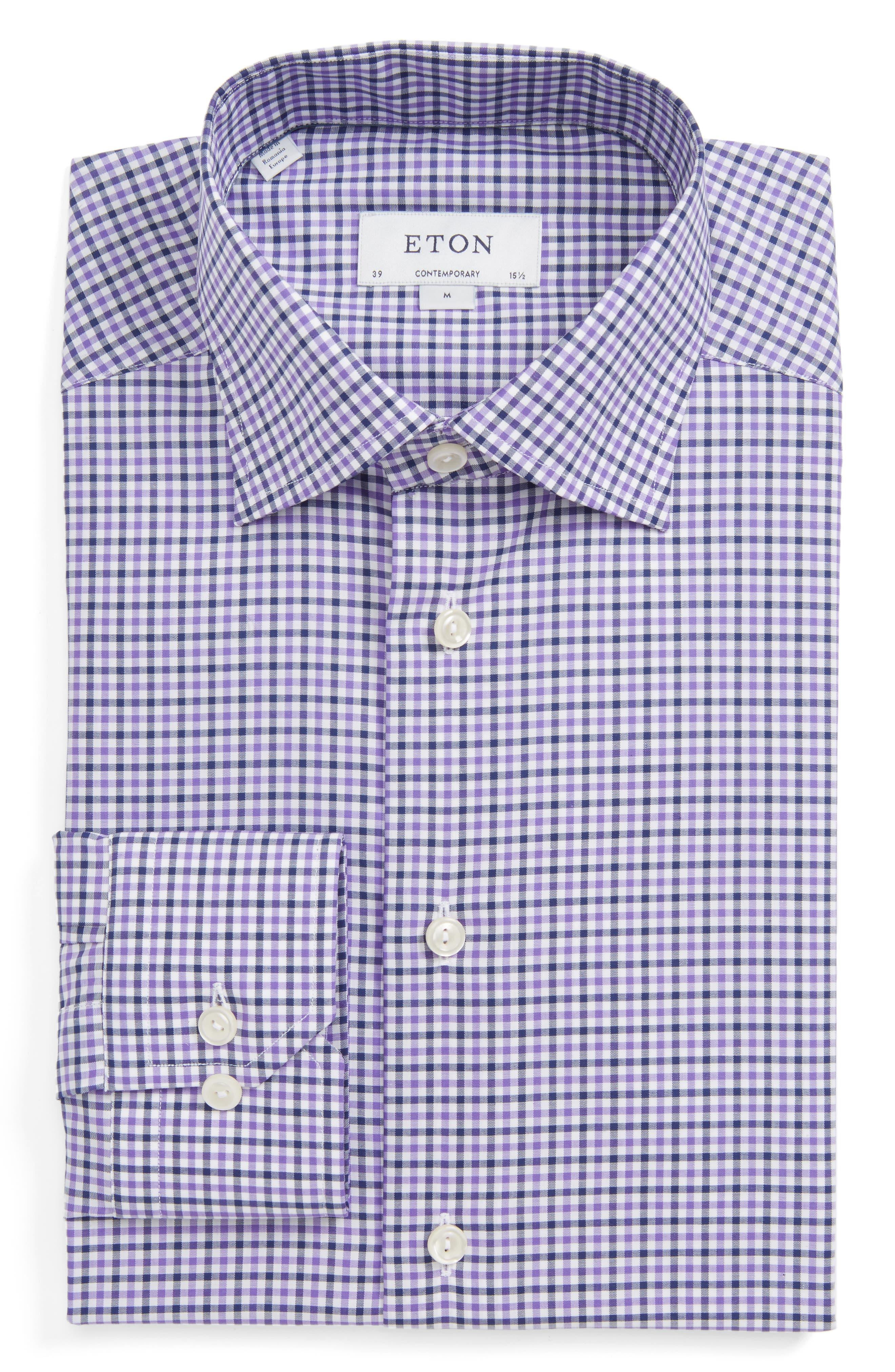 Contemporary Fit Check Dress Shirt,                         Main,                         color, Purple