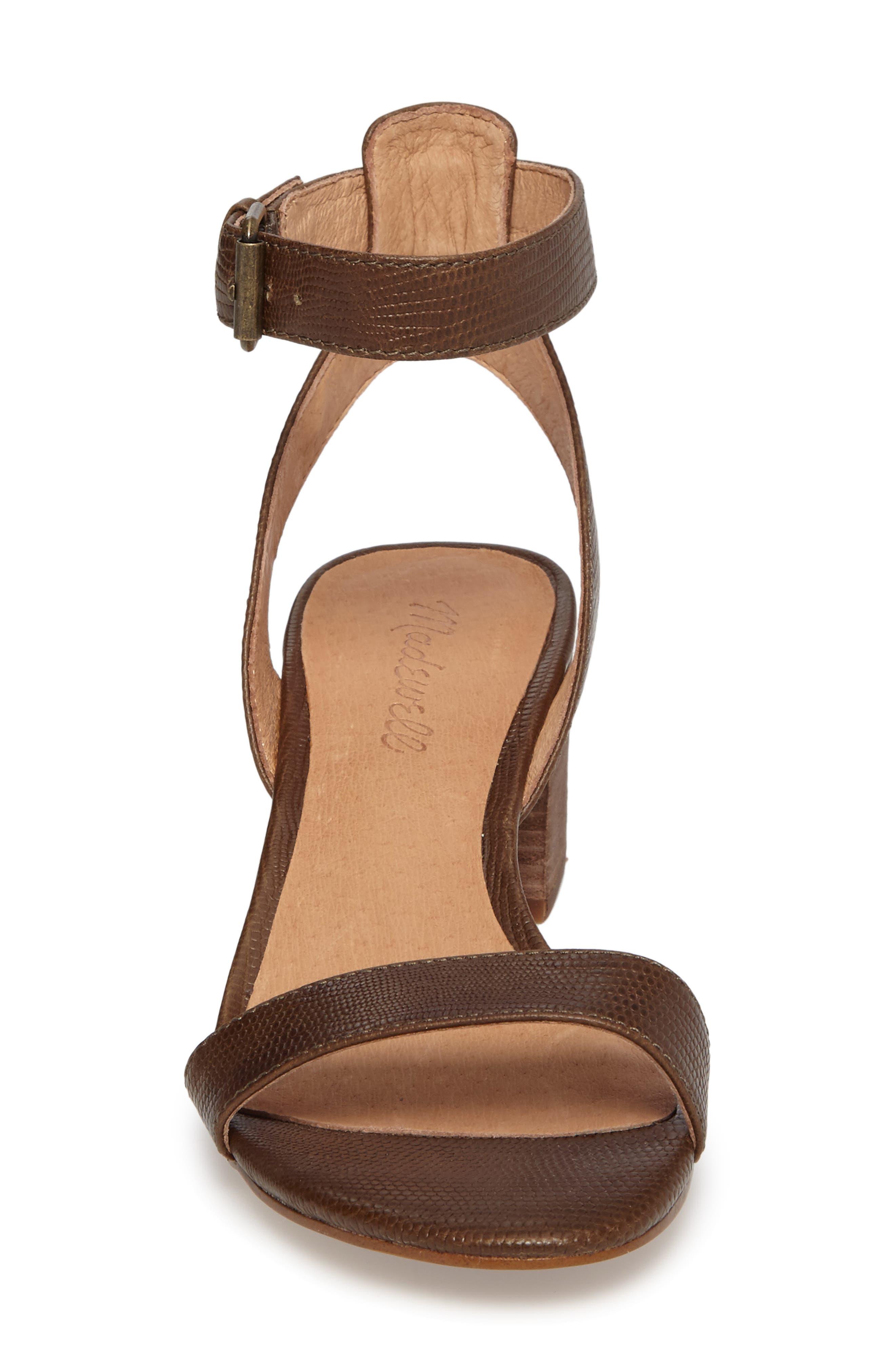 Alice Embossed Ankle Wrap Sandal,                             Alternate thumbnail 4, color,                             Safari Khaki Leather