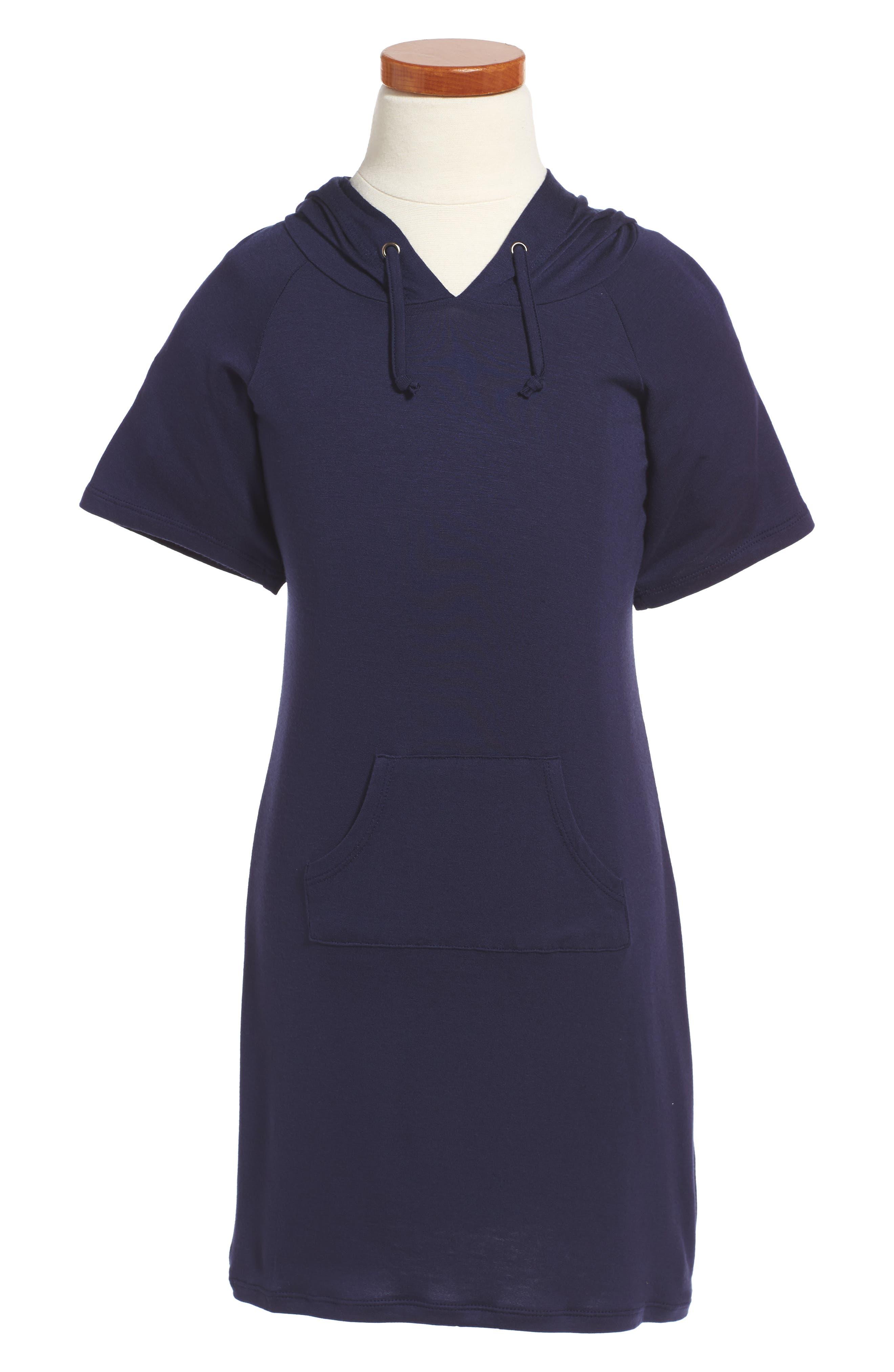 Knit Hoodie Dress,                         Main,                         color, Eclipse