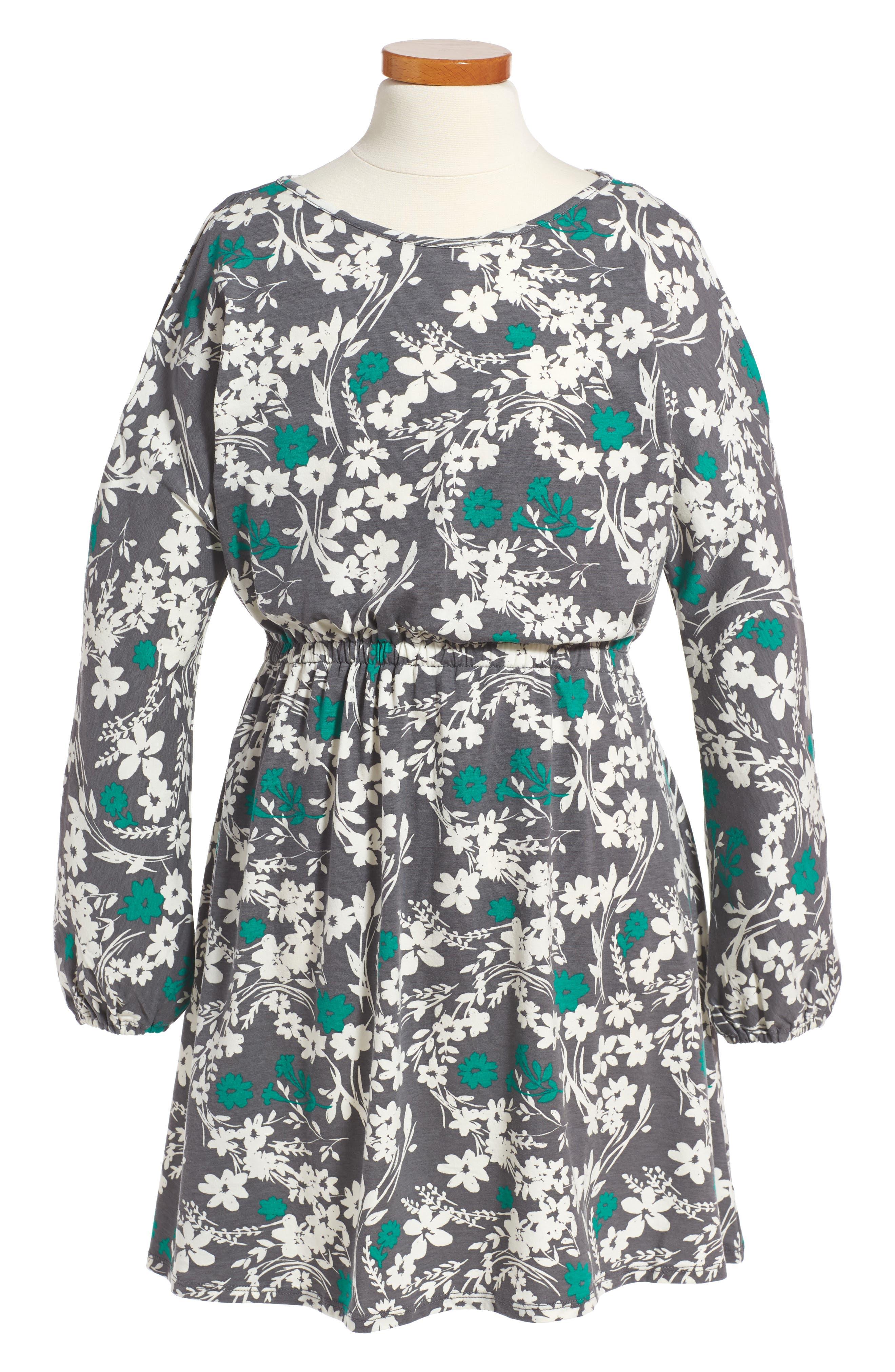Cold Shoulder Print Dress,                             Main thumbnail 1, color,                             Grey Castlerock Shadow Floral
