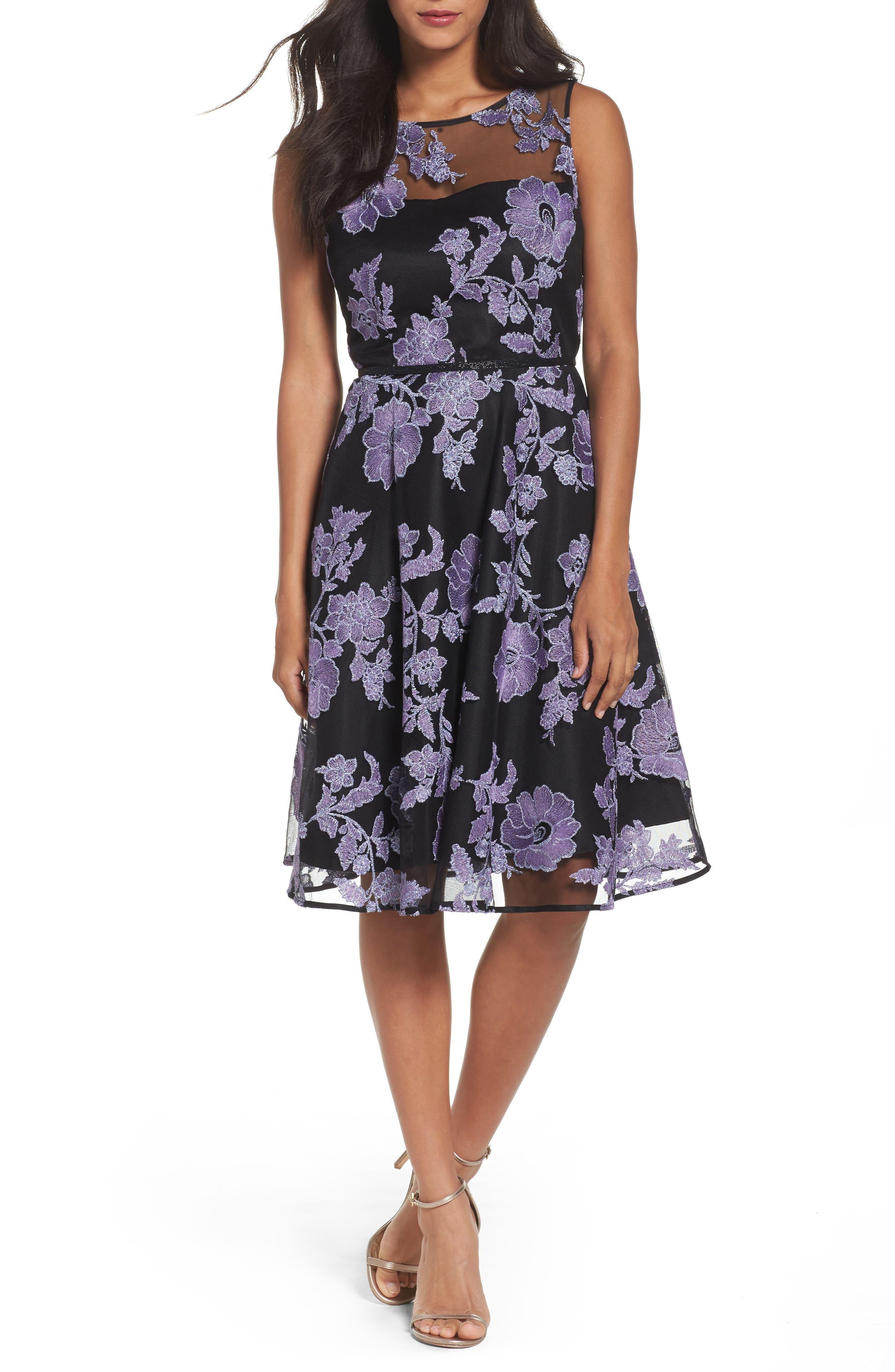 Embroidered A-Line Dress,                         Main,                         color, Black/ Lavender