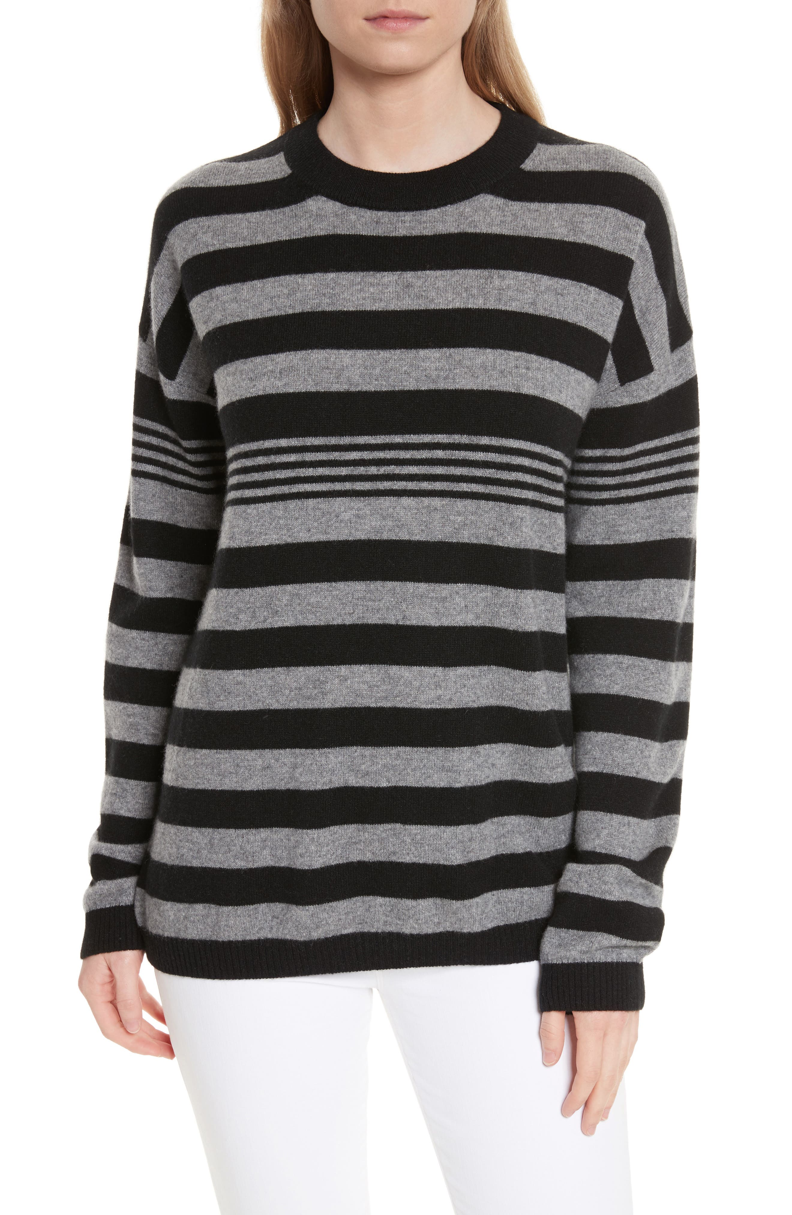 Bryce Crew Cashmere Sweater,                         Main,                         color, Heather Grey/ Black