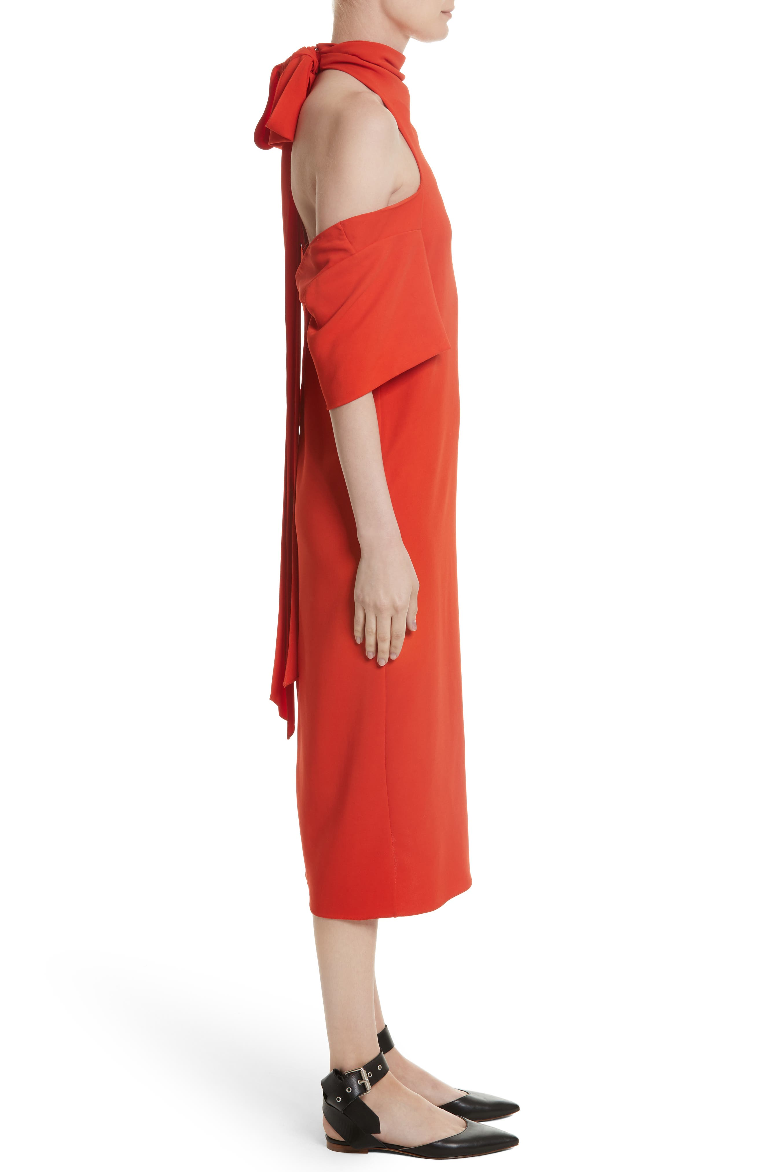 Bow Back Asymmetrical Dress,                             Alternate thumbnail 4, color,                             Red