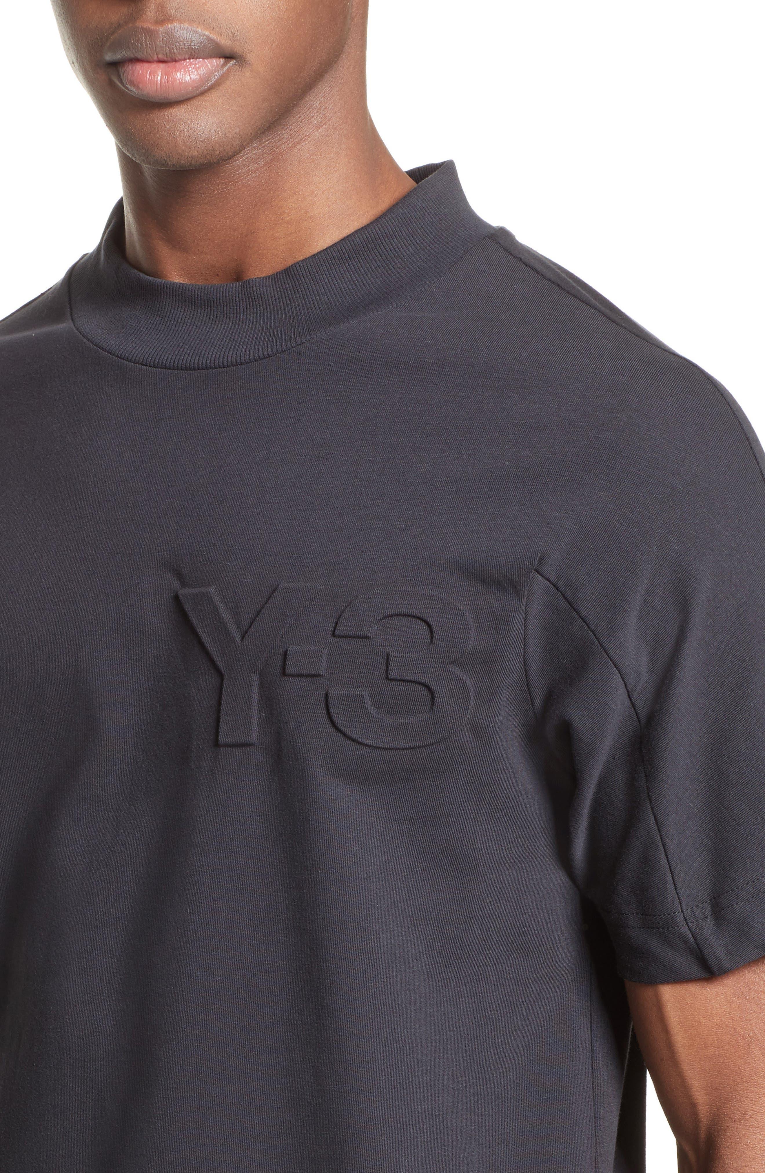 Embossed Logo T-Shirt,                             Alternate thumbnail 4, color,                             Black