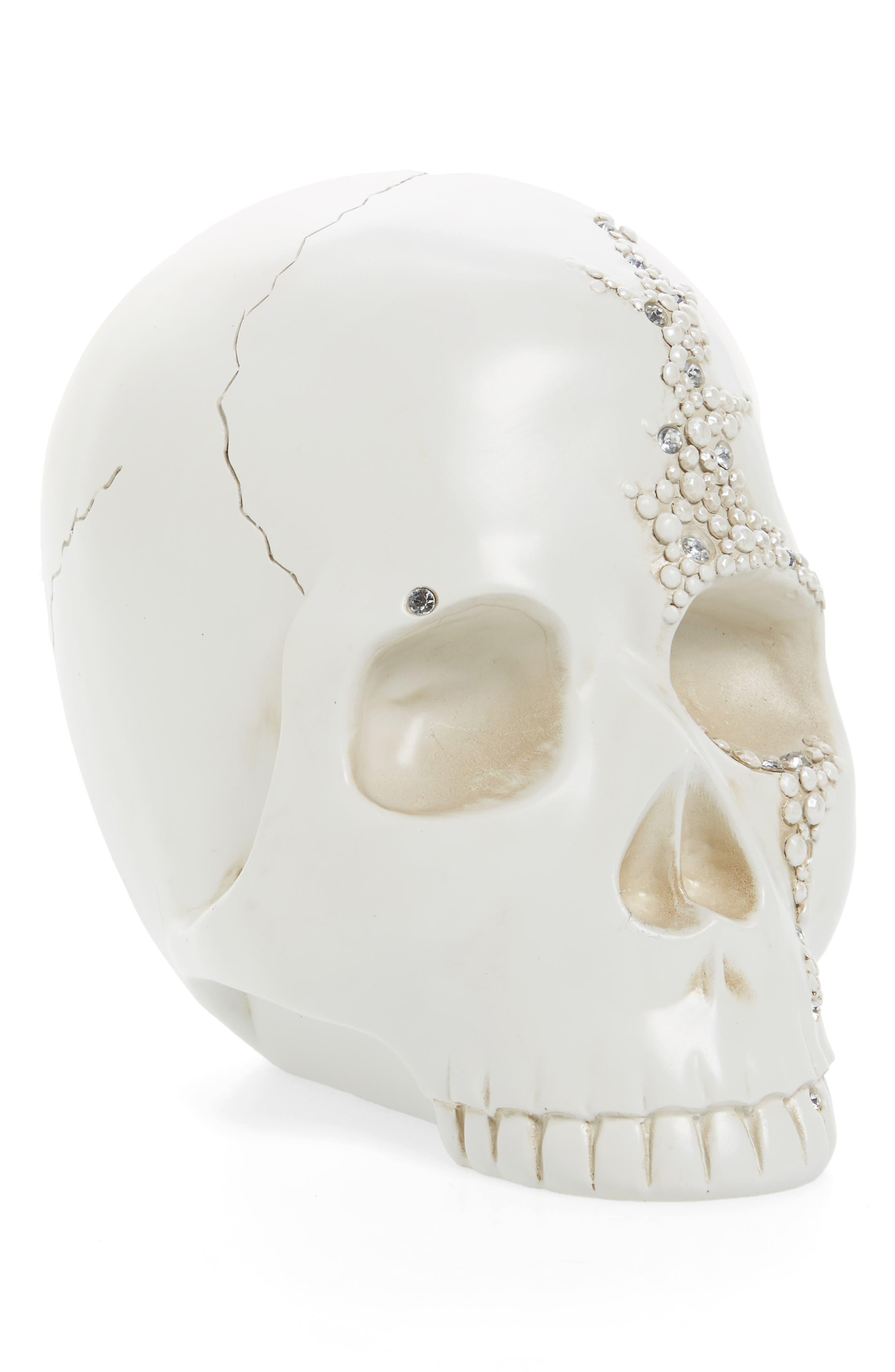 Silvertone Skull Decoration,                             Main thumbnail 1, color,                             Silver