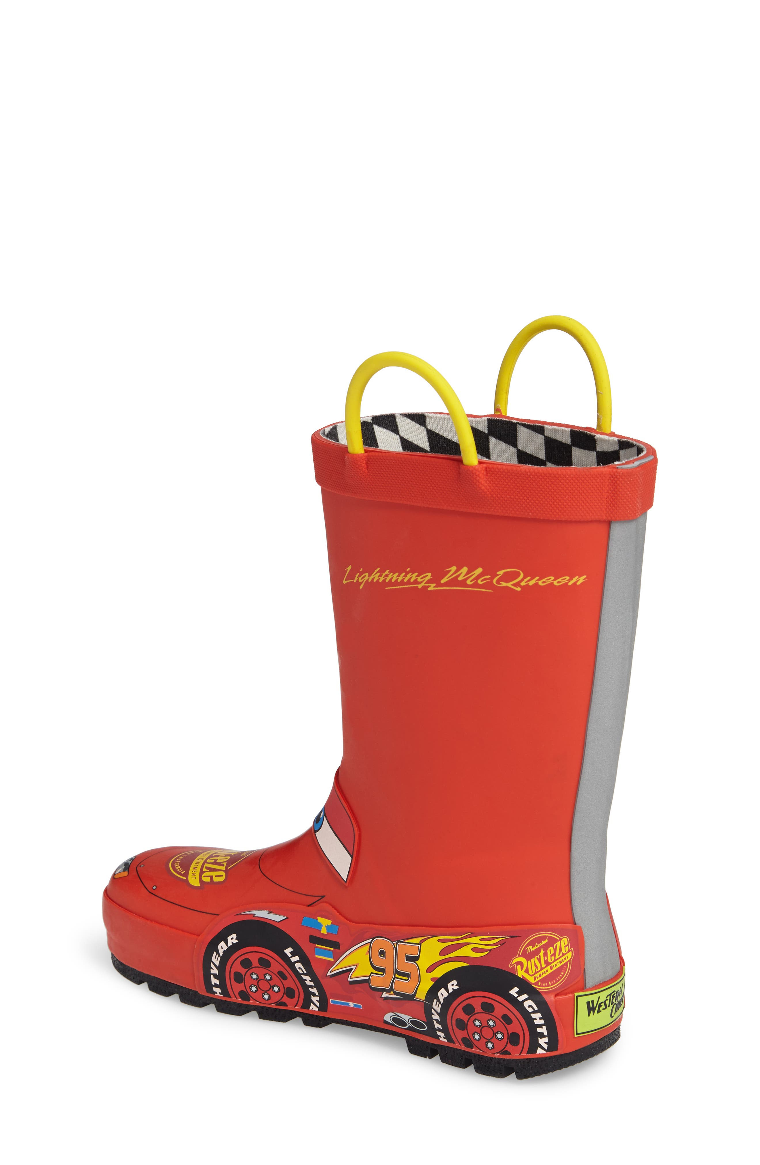 Lightning McQueen Rain Boot,                             Alternate thumbnail 3, color,                             Red