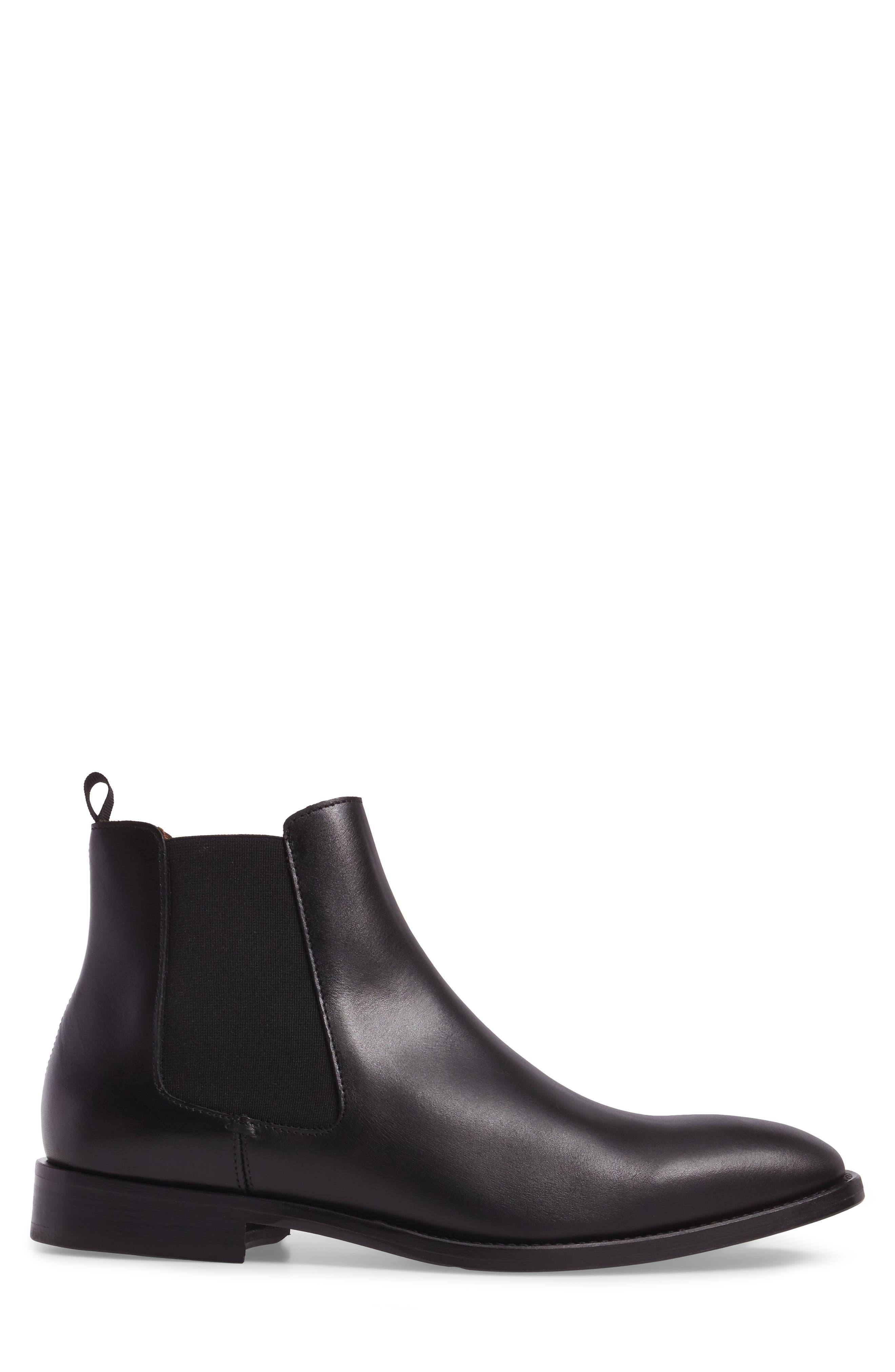 Haldien Chelsea Boot,                             Alternate thumbnail 3, color,                             Black Leather/ Elastic