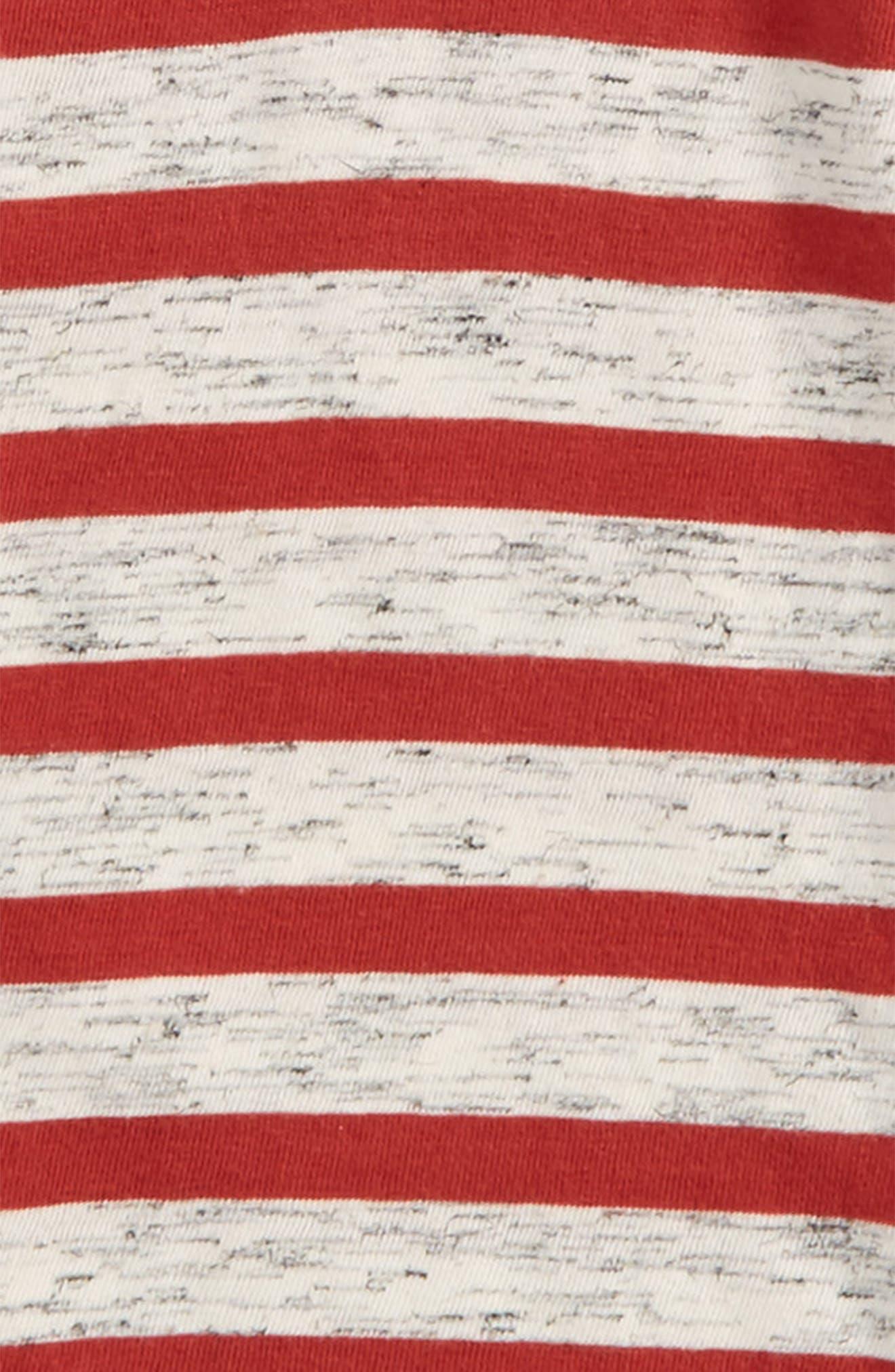 Hooded Raglan Layered T-Shirt,                             Alternate thumbnail 2, color,                             Rust Bossa Nova- Ivory Stripe