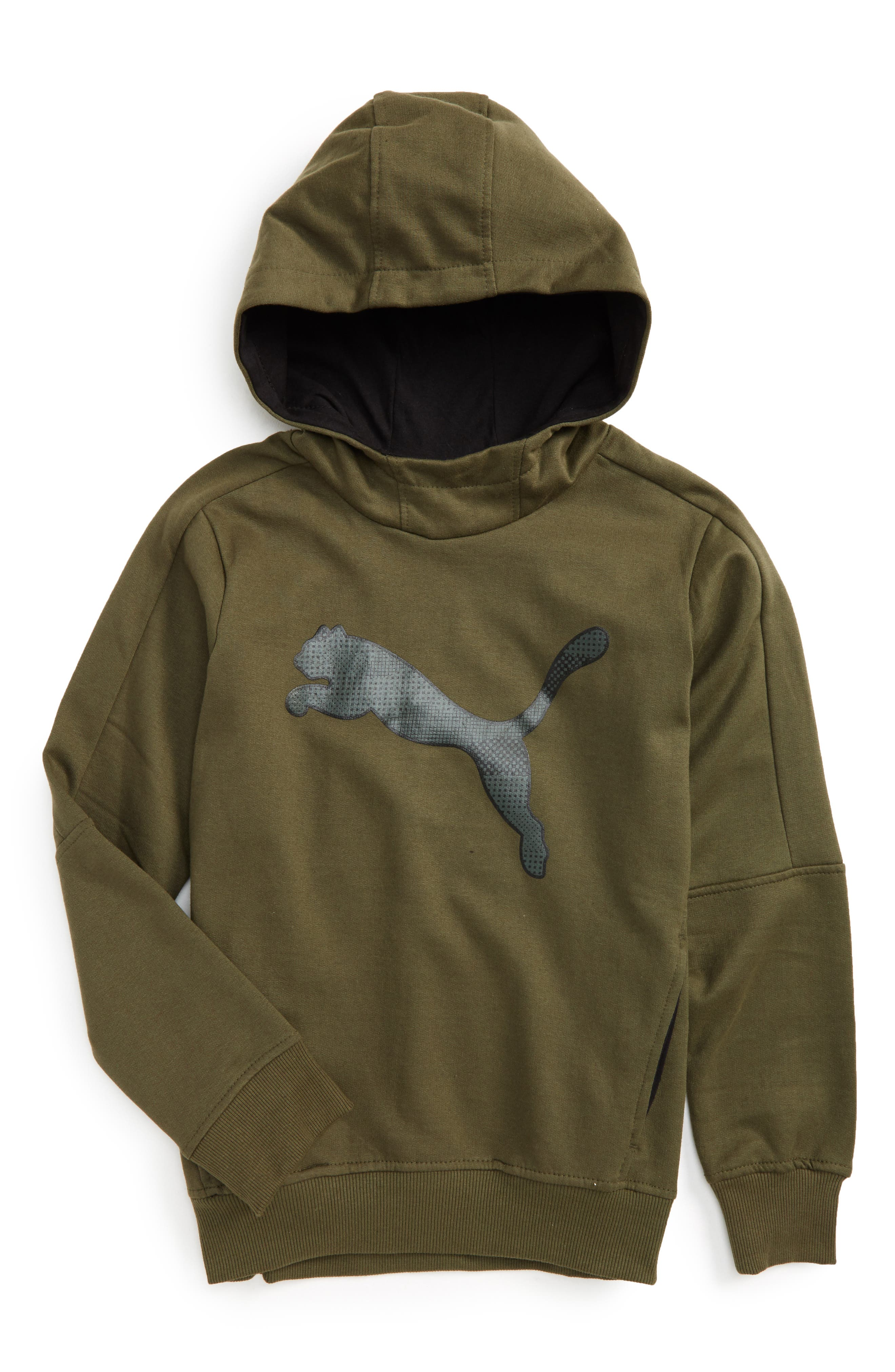 Logo Graphic Hoodie,                         Main,                         color, Olive Night