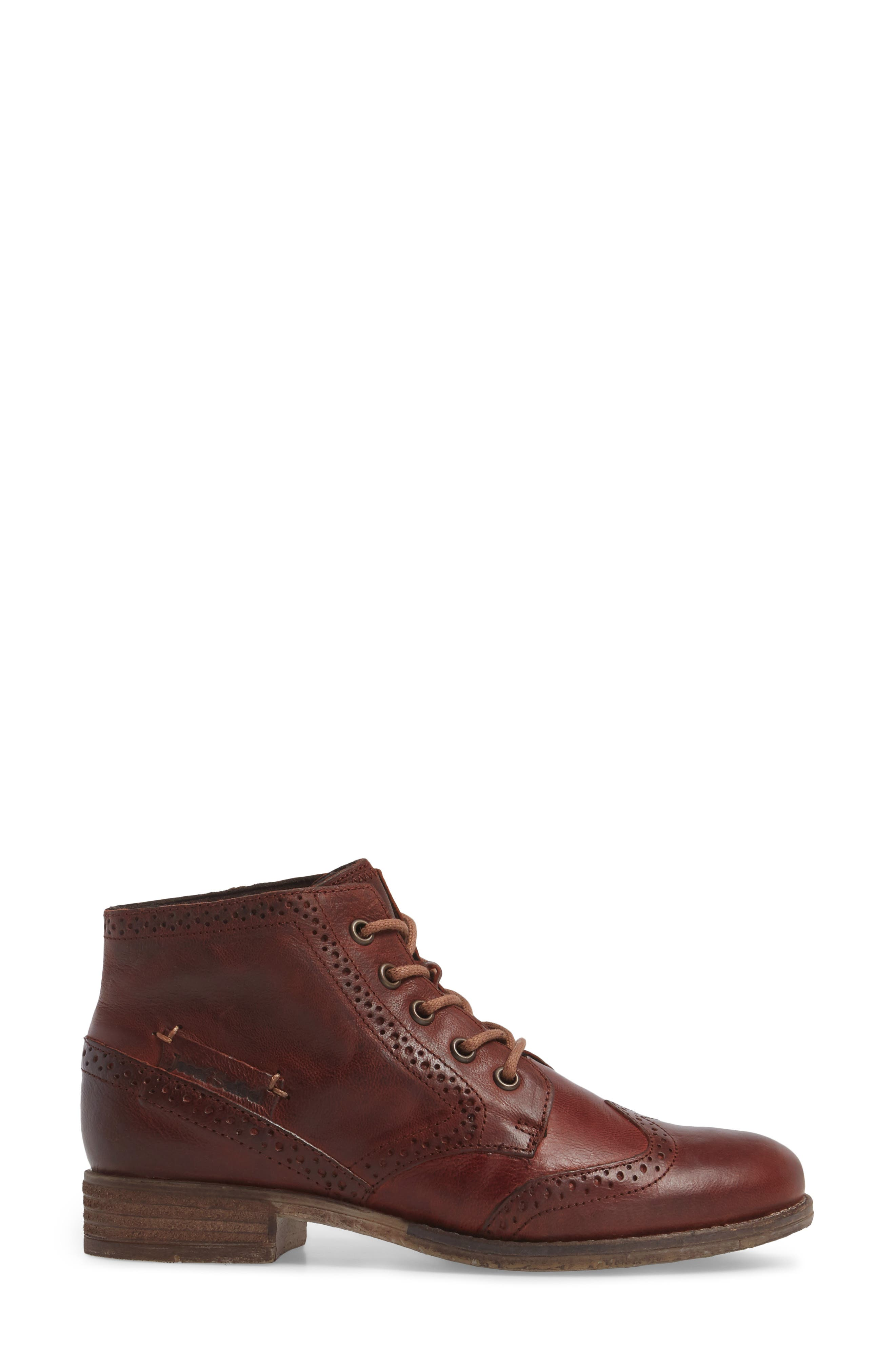 'Sienna 15' Wingtip Bootie,                             Alternate thumbnail 3, color,                             Camel Leather