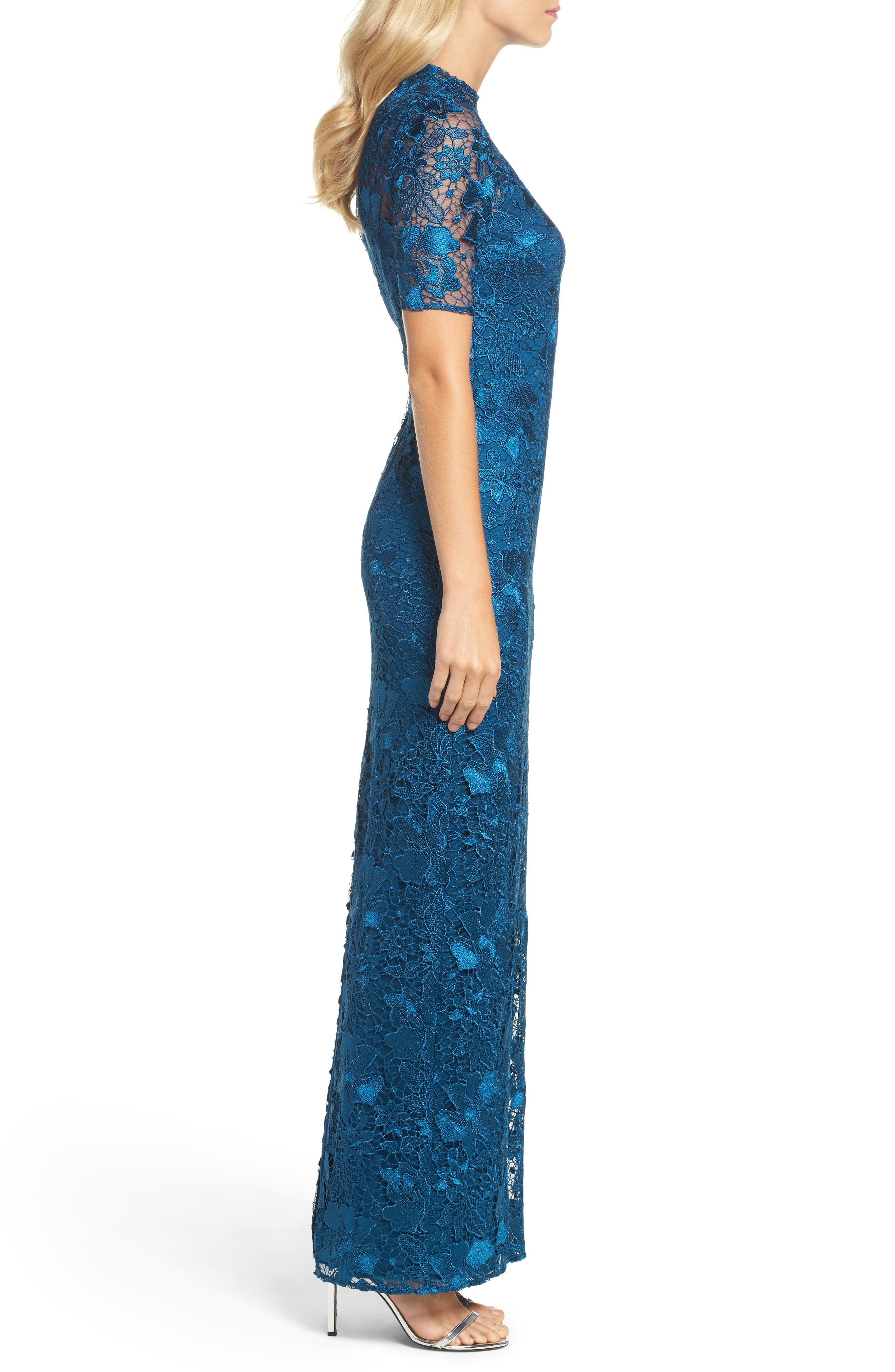 Guipure Lace Column Gown,                             Alternate thumbnail 3, color,                             Evening Sky