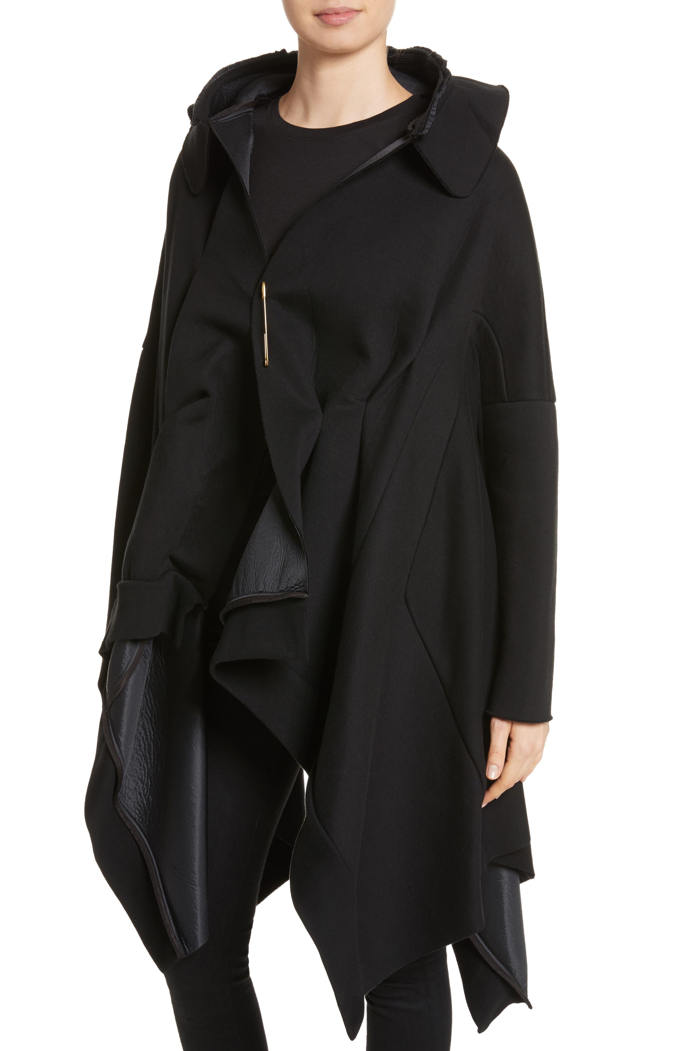 Hooded Coat,                             Alternate thumbnail 4, color,                             Black