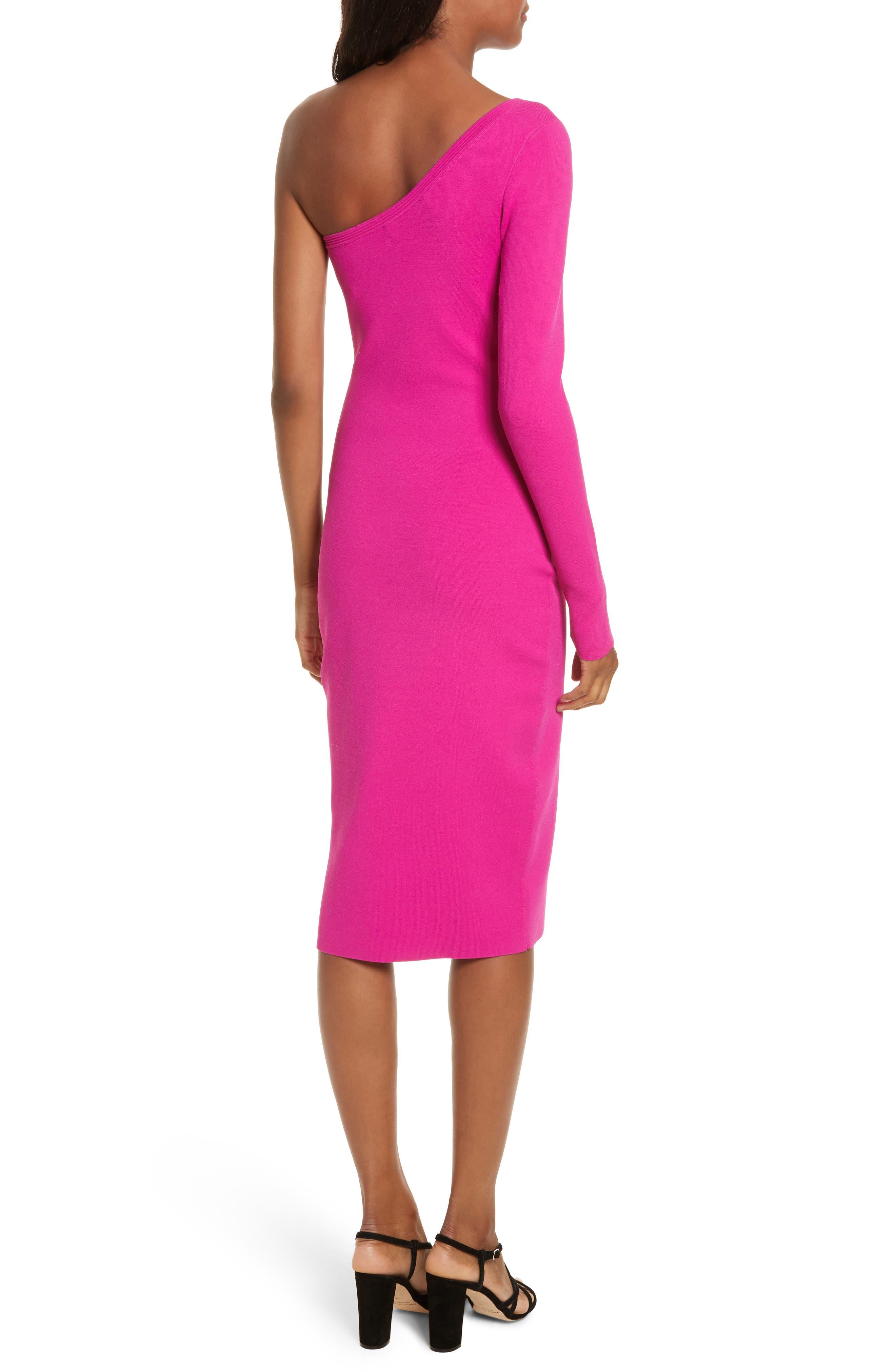 Diane von Furstenberg Knit One-Shoulder Midi Dress,                             Alternate thumbnail 2, color,                             Ribbon Pink